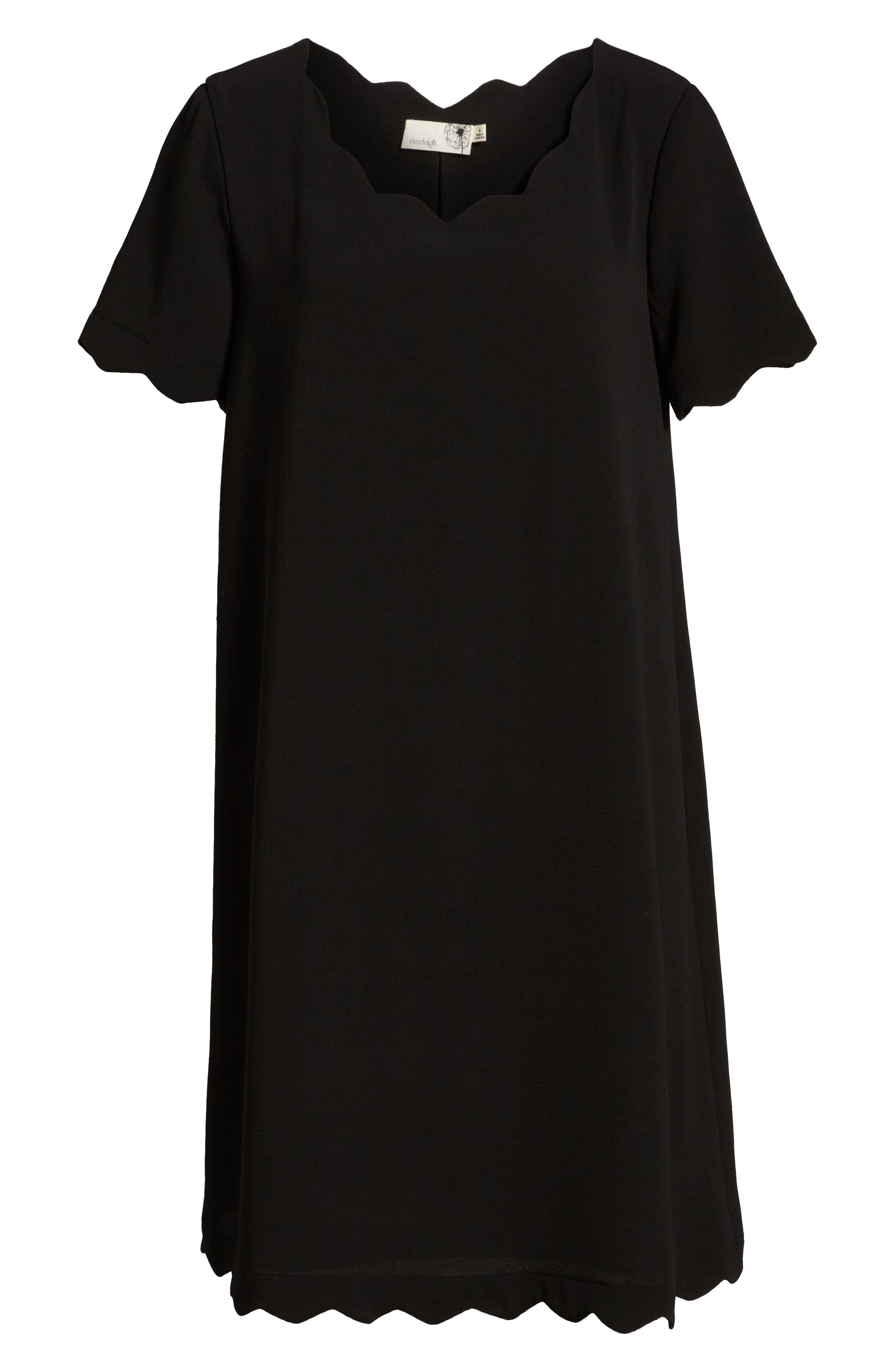 Scallop Shift Dress,                             Alternate thumbnail 7, color,                             BLACK