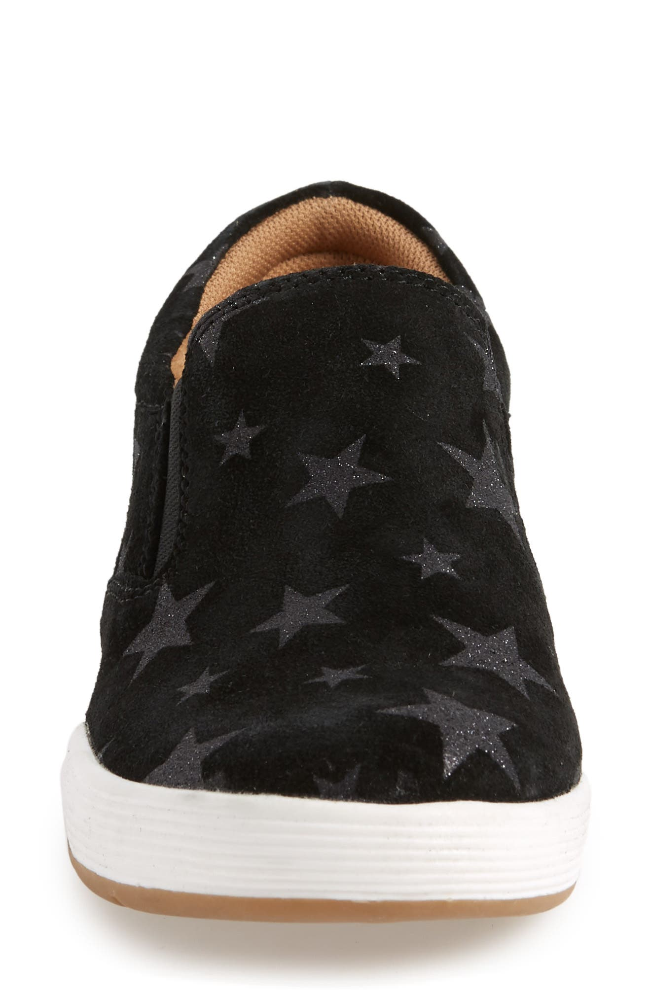 Linette Suede Slip-On Sneaker,                             Alternate thumbnail 4, color,                             BLACK SUEDE