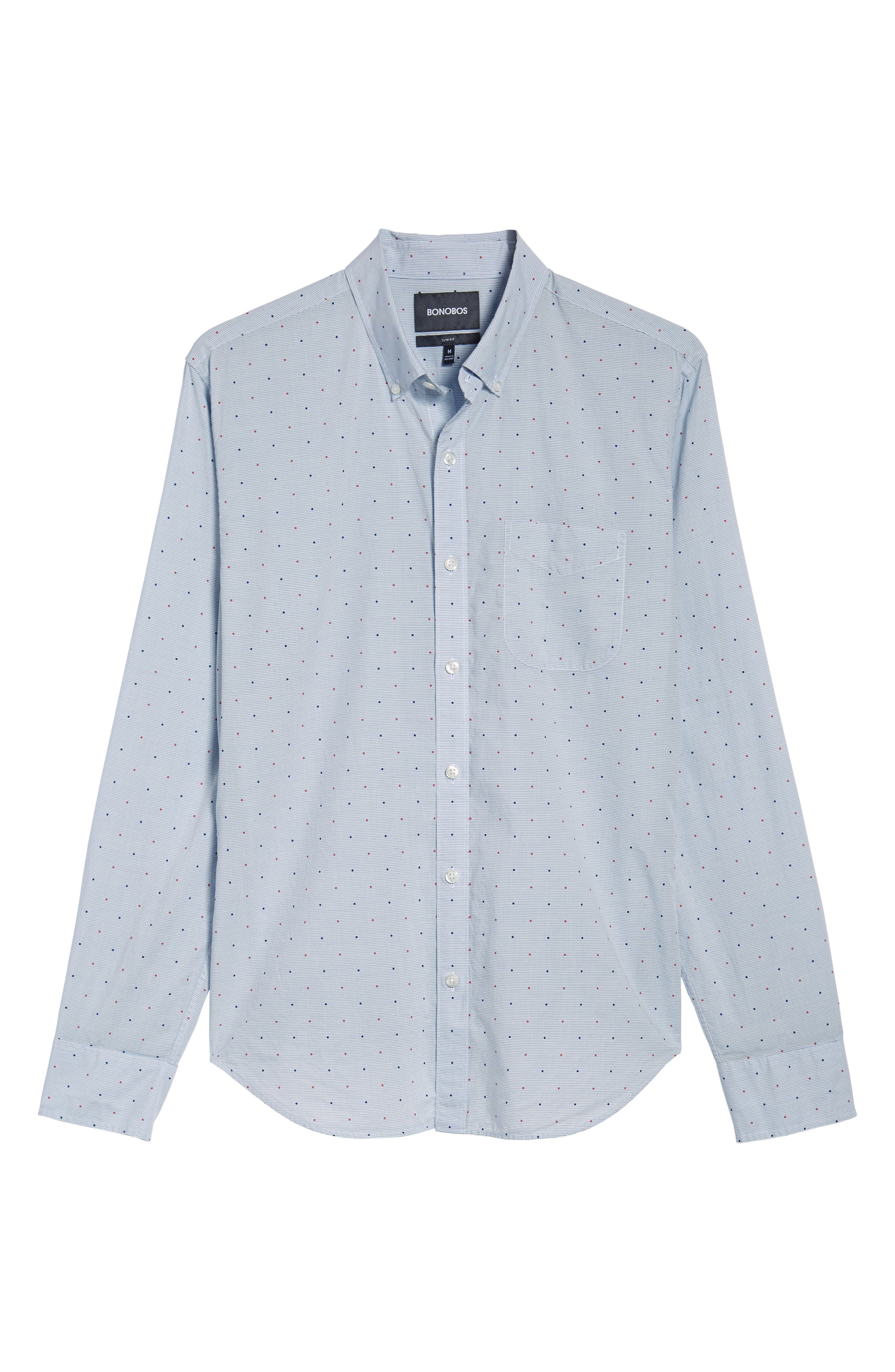 Slim Fit Dot Sport Shirt,                             Alternate thumbnail 6, color,                             400