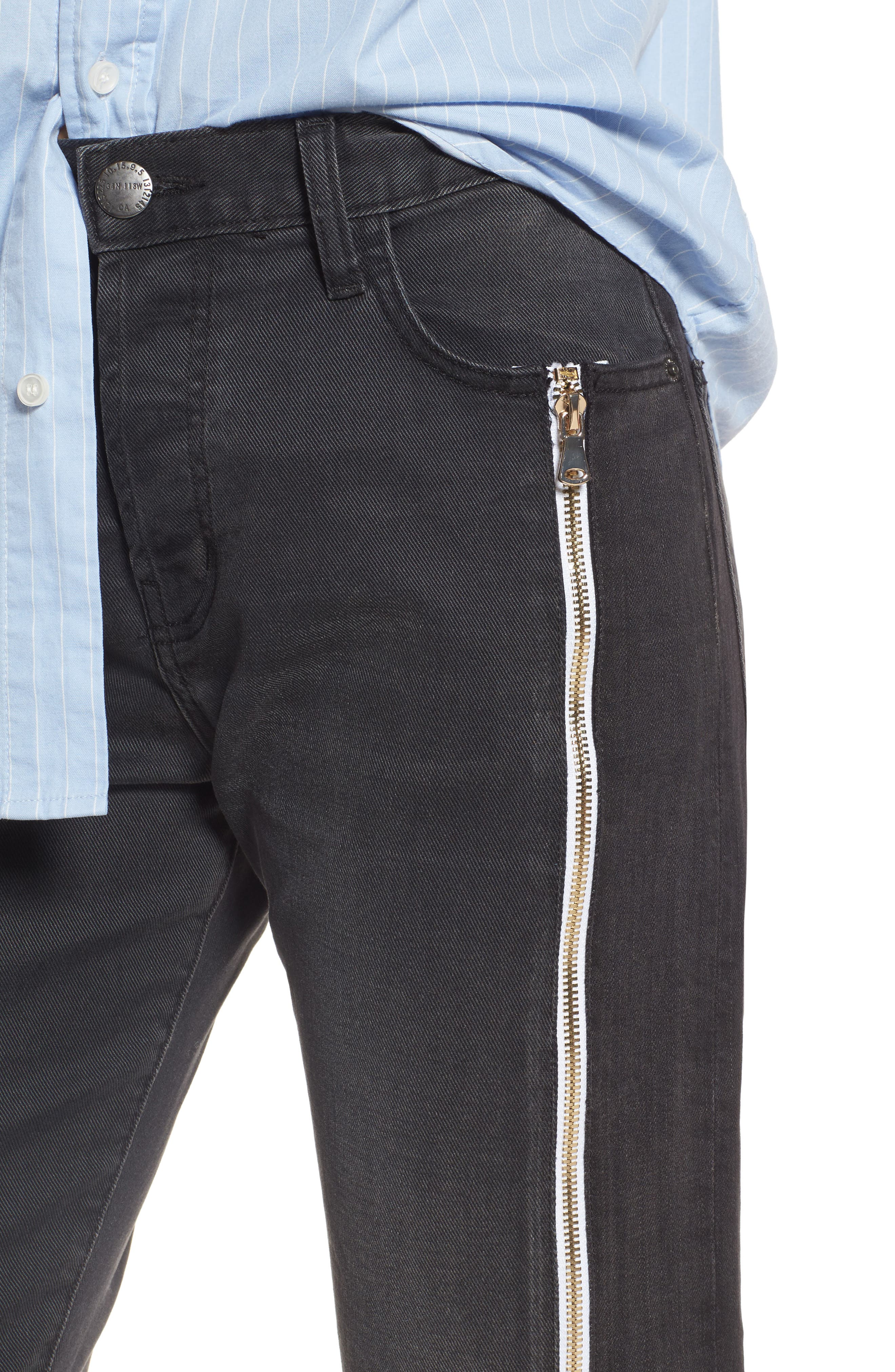 The Dallon Zip High Waist Crop Straight Jeans,                             Alternate thumbnail 4, color,                             405