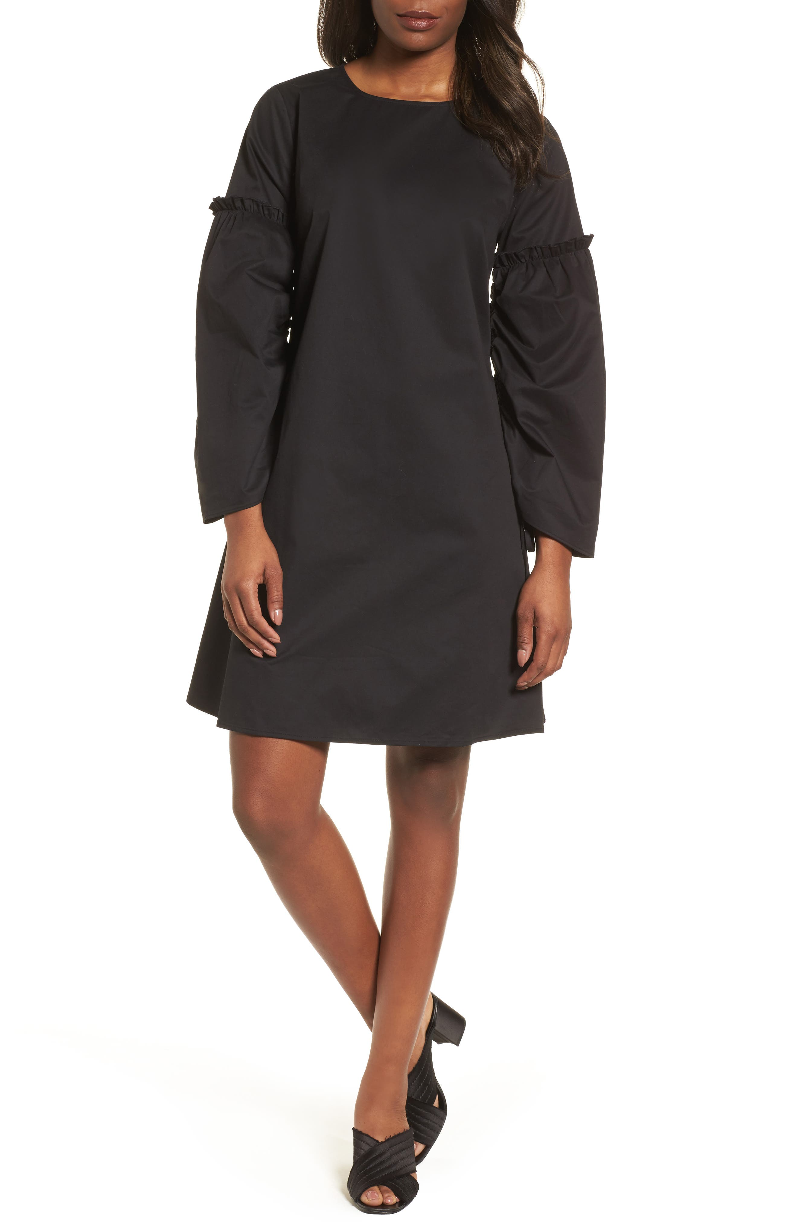 Parachute Sleeve Shift Dress,                         Main,                         color, 001