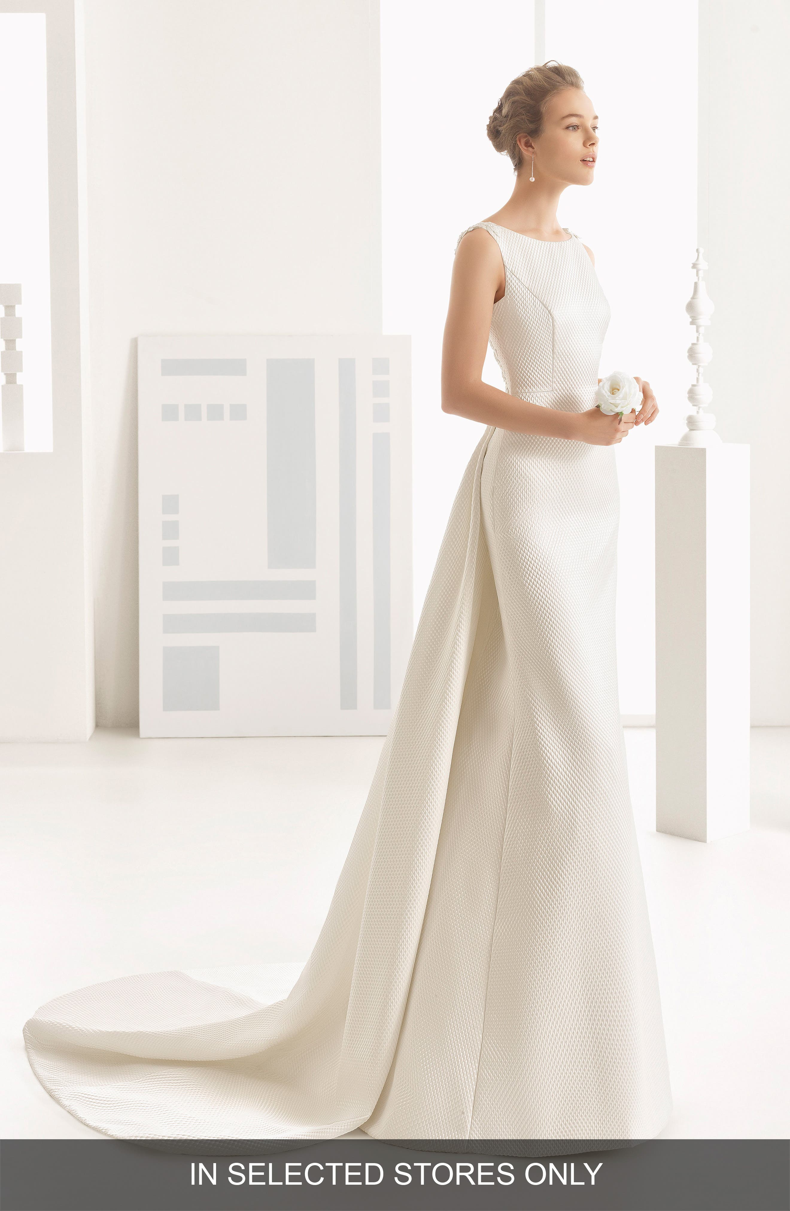 Rosa Clará Couture Navas Embellished Piqué Column Gown with Train,                             Main thumbnail 1, color,                             NATURAL