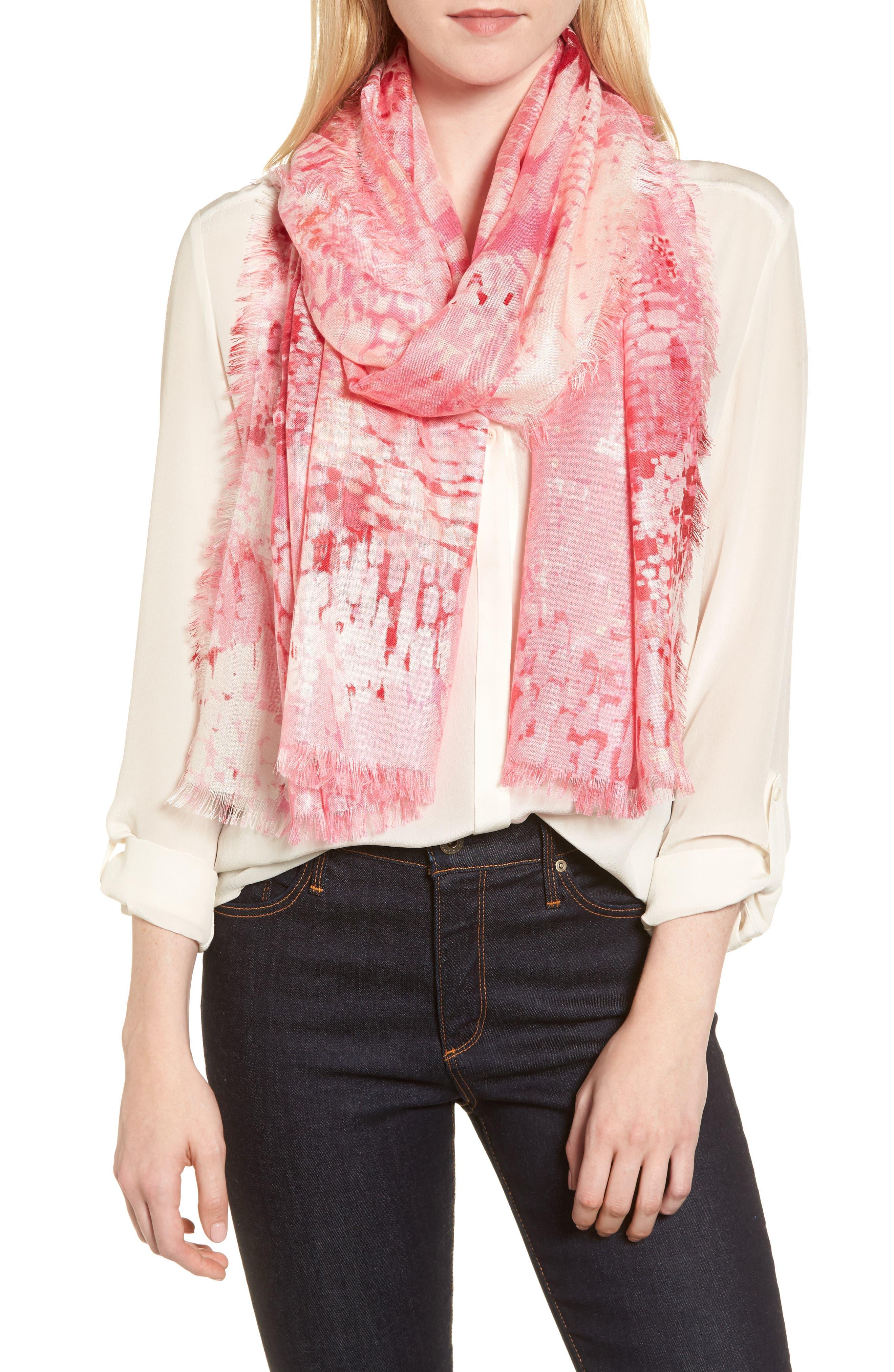 Eyelash Trim Print Cashmere & Silk Wrap,                             Main thumbnail 29, color,