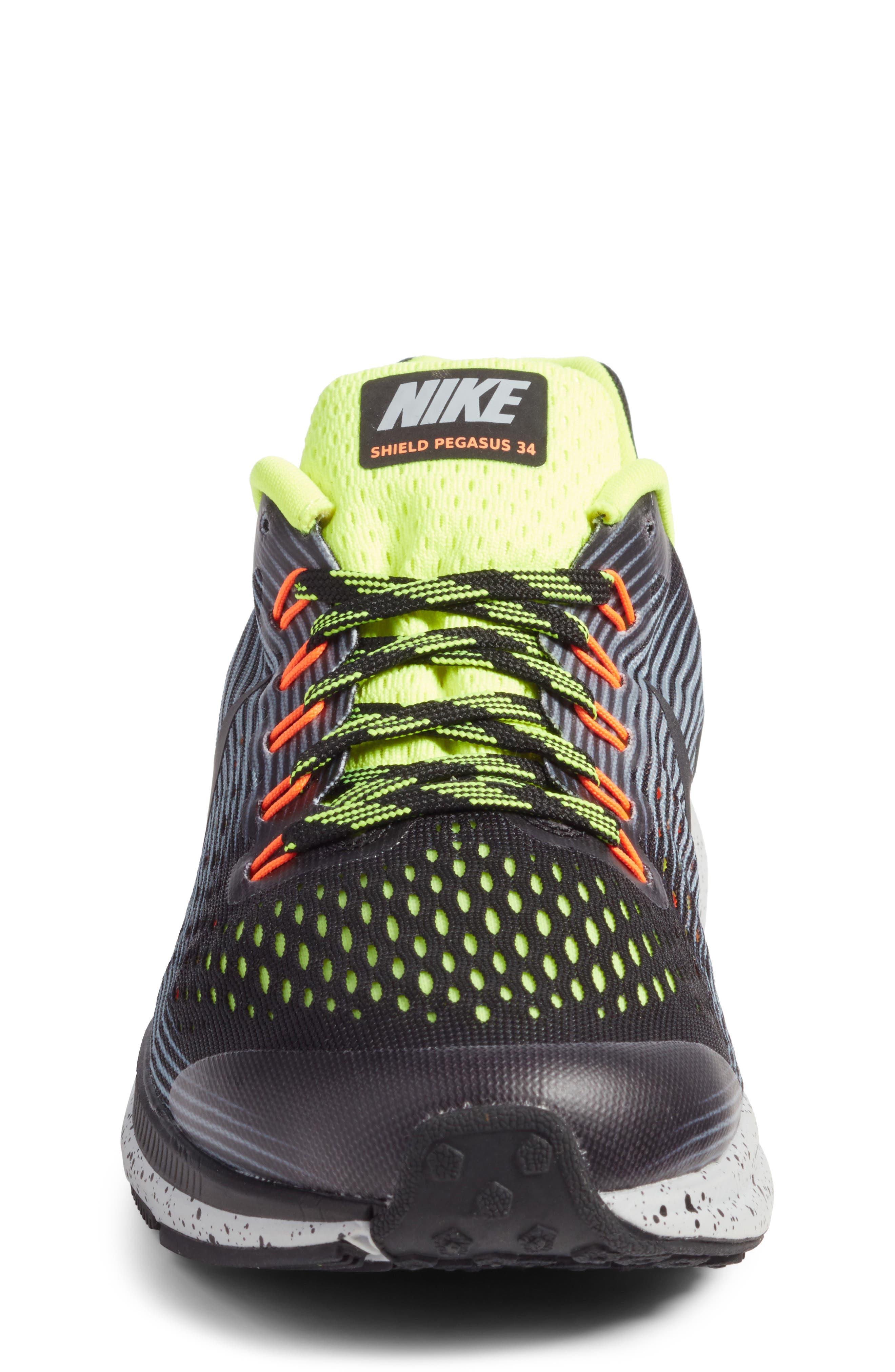 Zoom Pegasus 34 Water Repellent Shield Sneaker,                             Alternate thumbnail 4, color,                             001