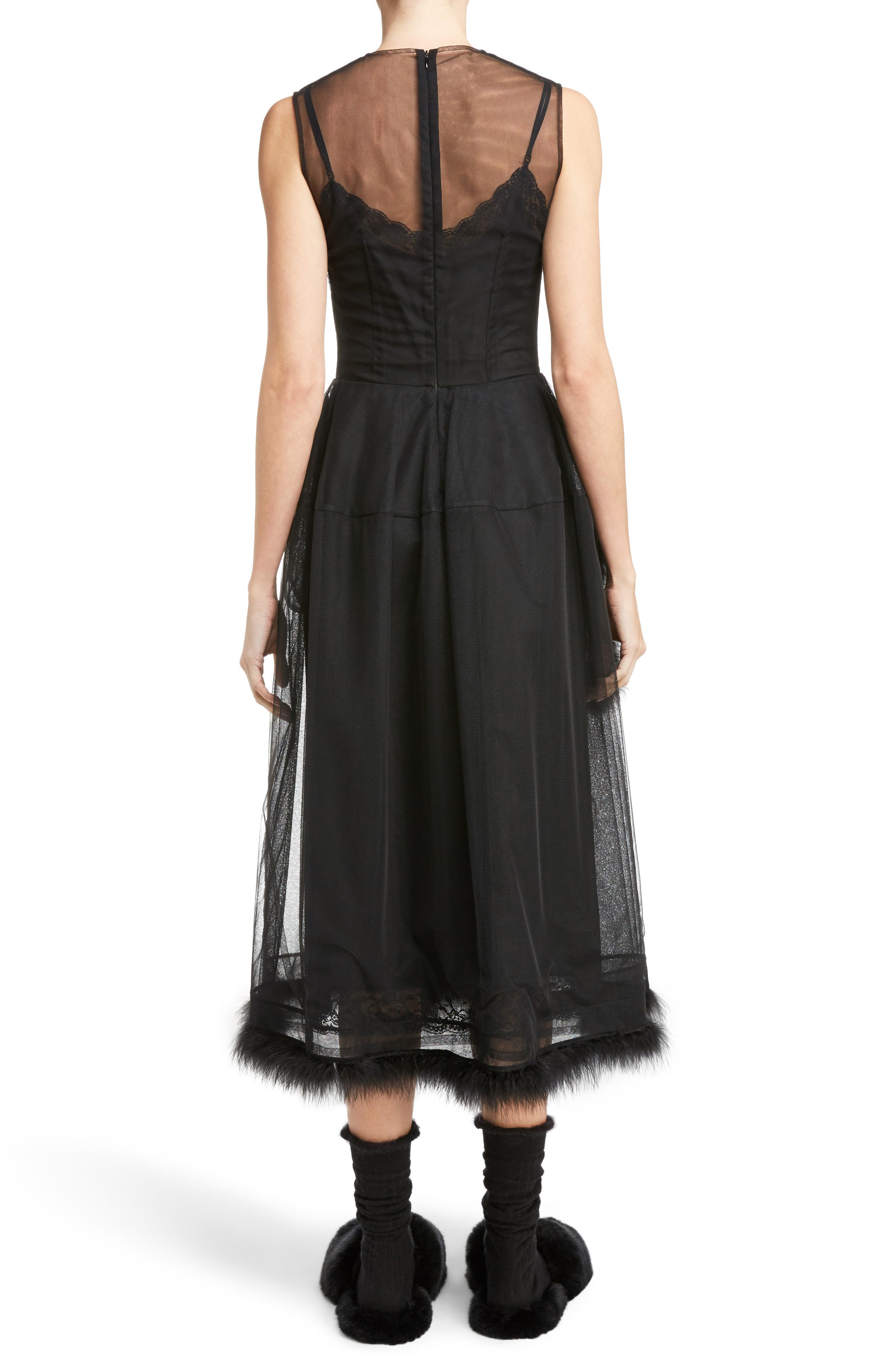 Teddy Feather Trim Tulle Dress,                             Alternate thumbnail 2, color,                             001