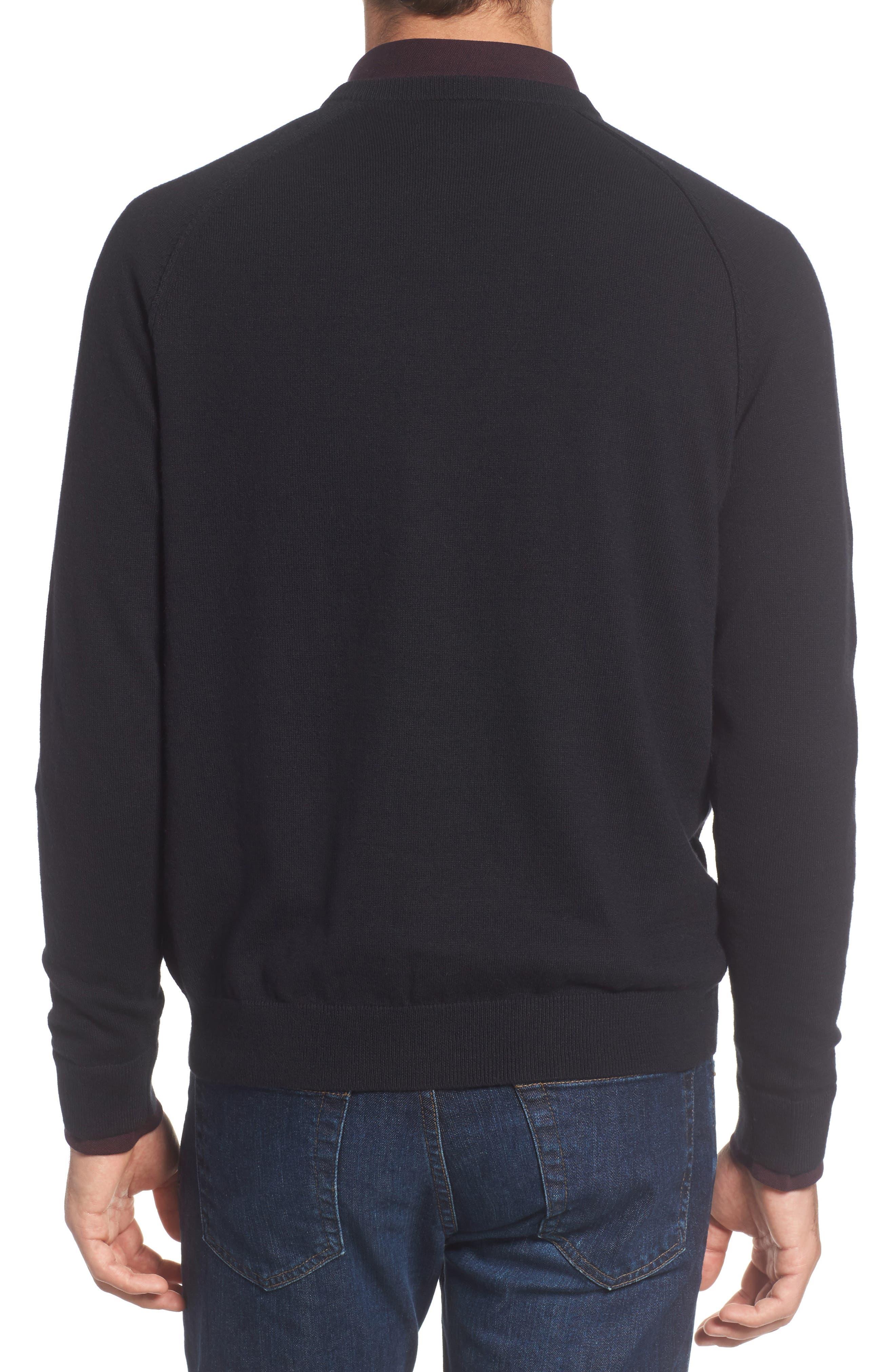 Saddle Shoulder Cotton & Cashmere V-Neck Sweater,                             Alternate thumbnail 9, color,