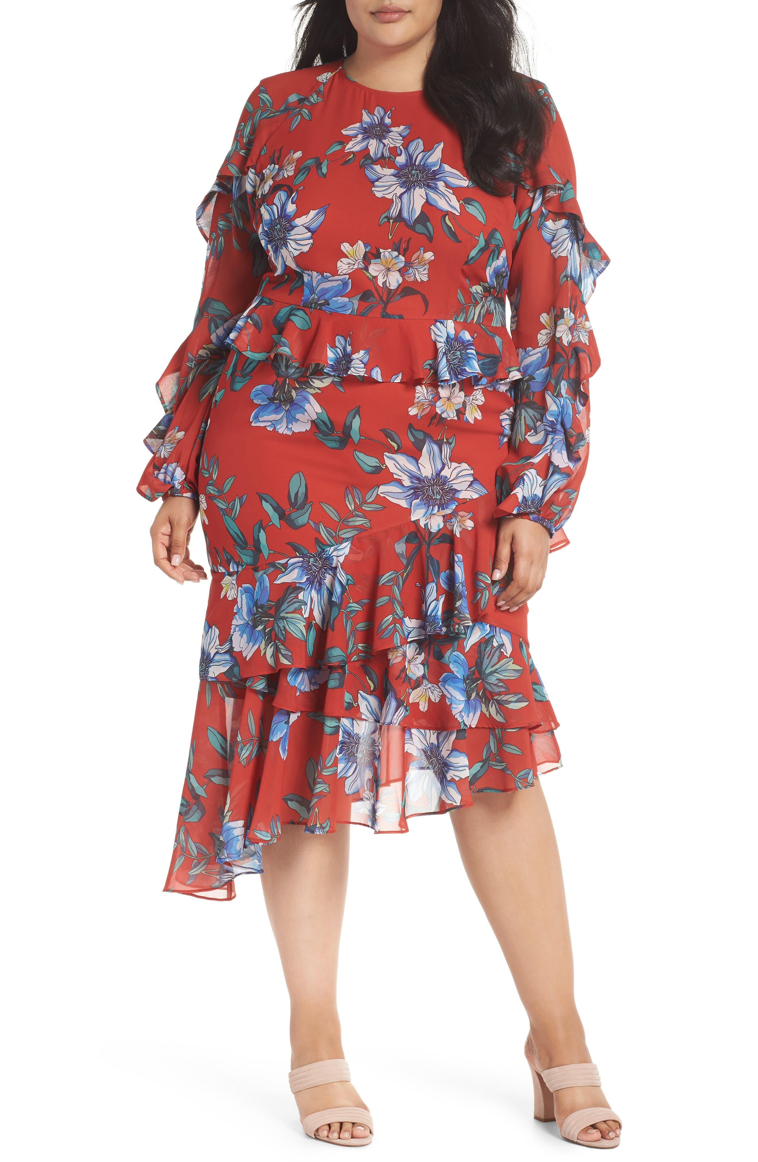 Floral Asymmetrical Dress,                             Main thumbnail 1, color,                             600