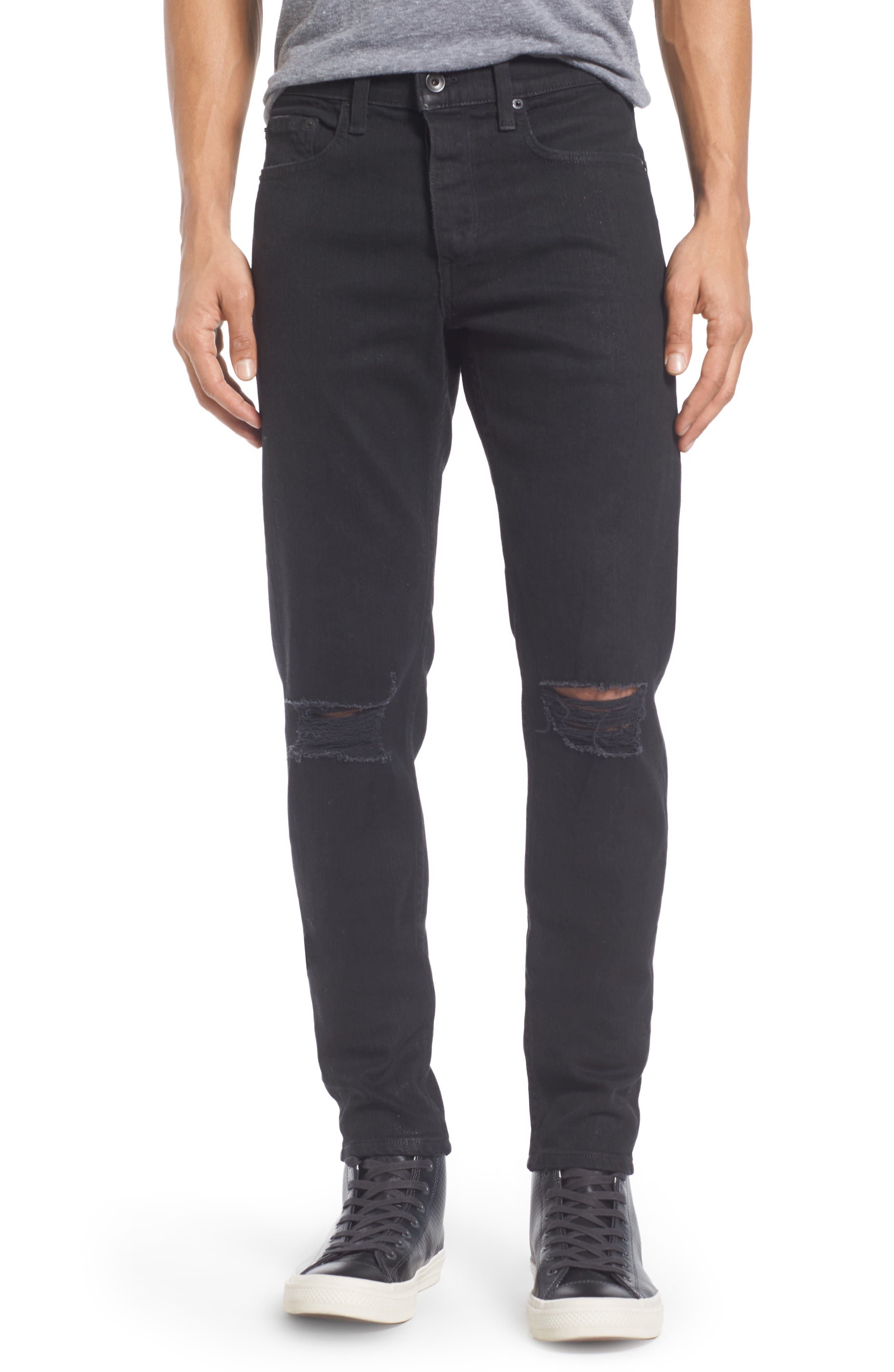 Fit 1 Skinny Fit Jeans,                             Main thumbnail 1, color,                             BLACK