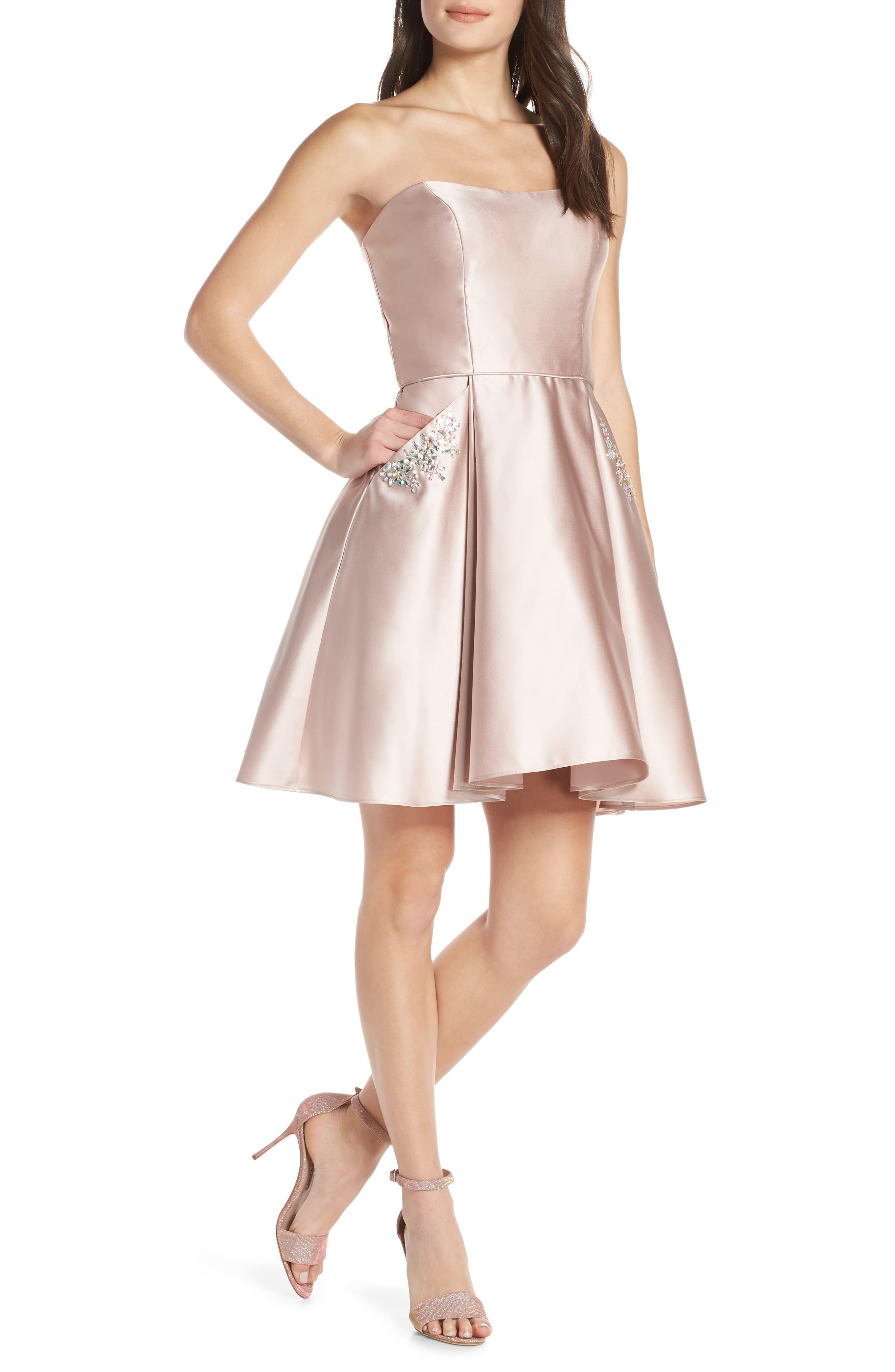 BLONDIE NITES Embellished Satin Fit & Flare Dress, Main, color, BEIGE