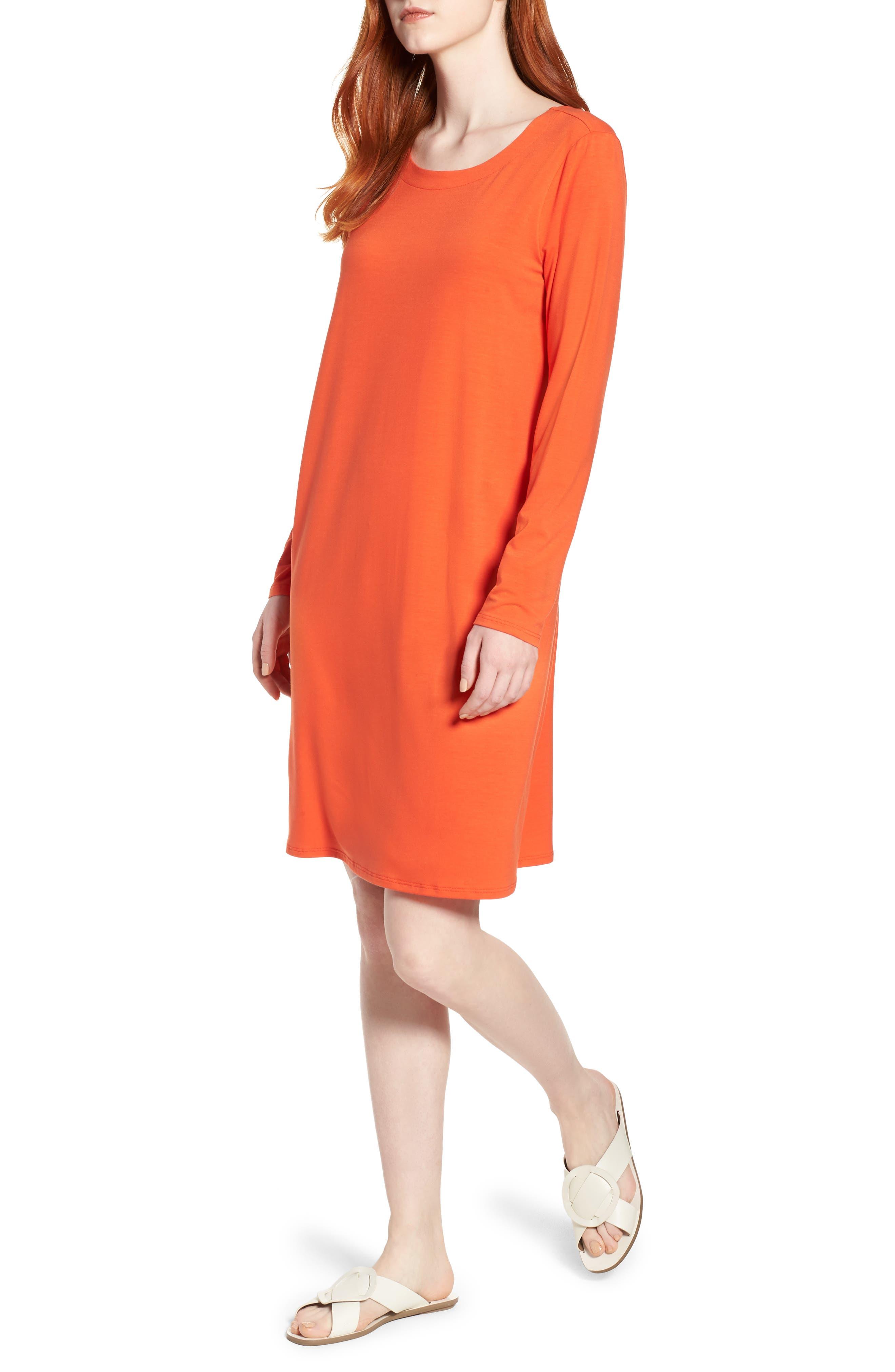 V-Back Stretch Tencel<sup>®</sup> Lyocell Shift Dress,                             Main thumbnail 2, color,