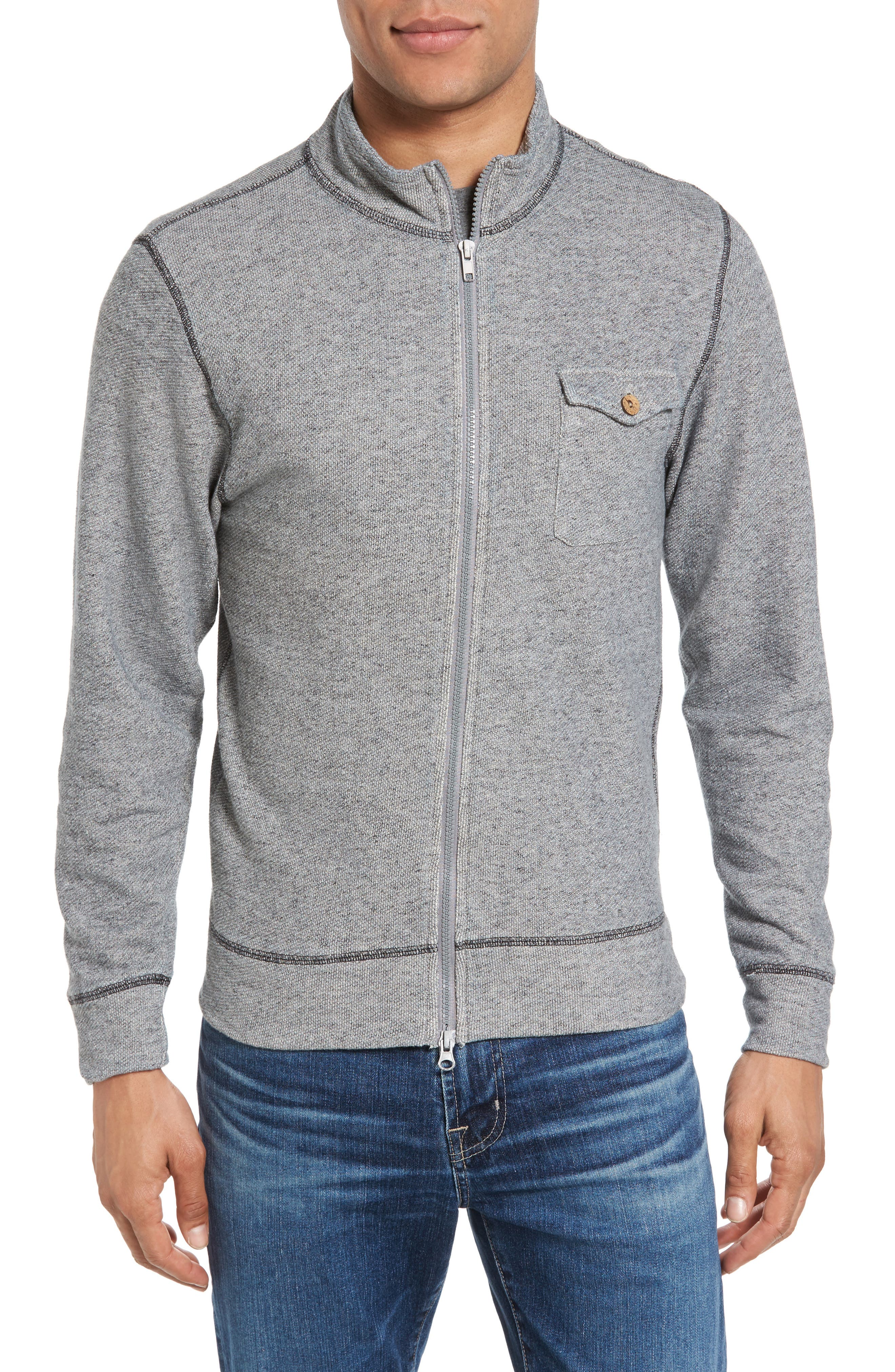 French Terry Zip Cardigan,                         Main,                         color, 020