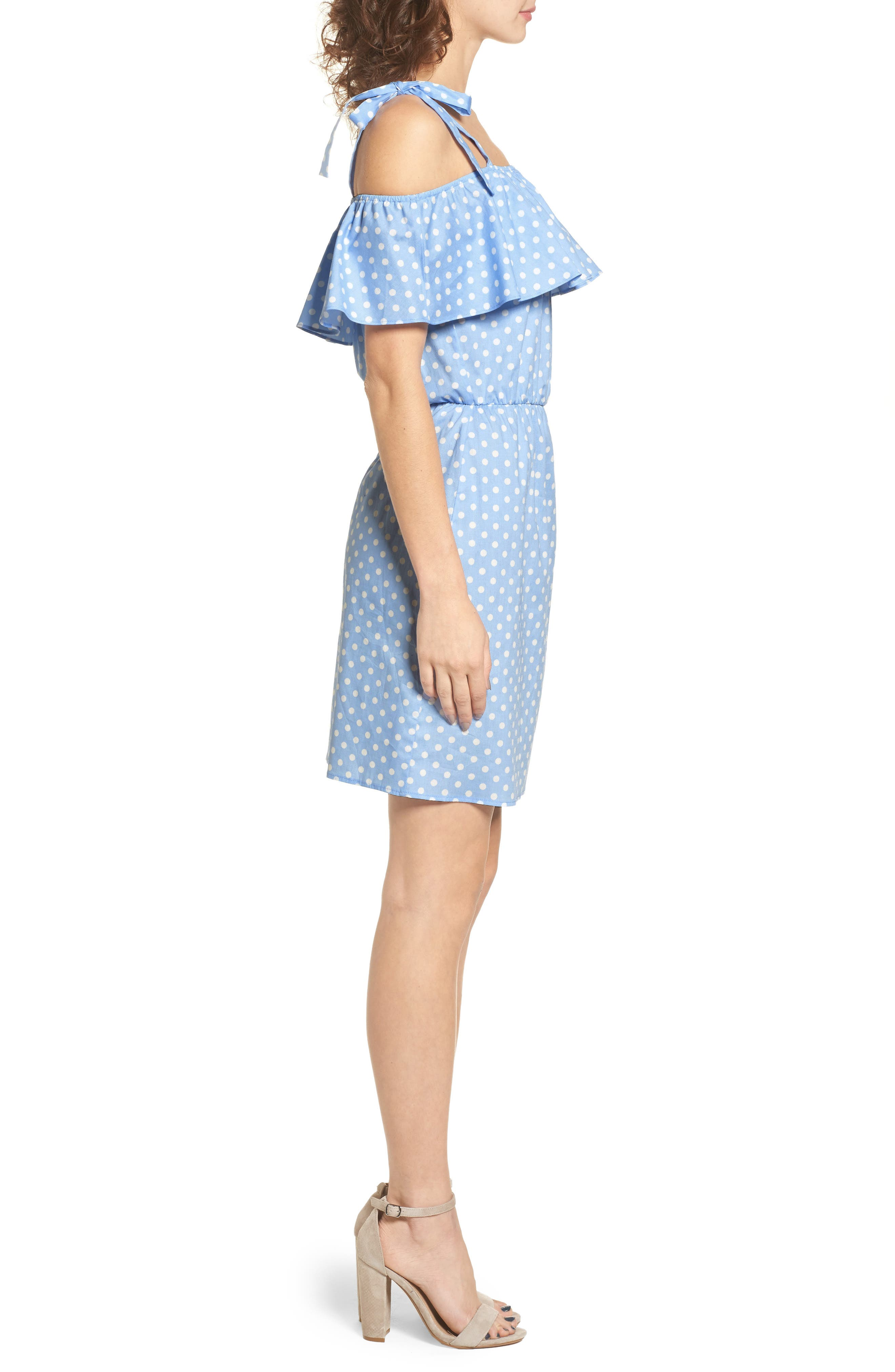 Ruffle Cold Shoulder Dress,                             Alternate thumbnail 3, color,                             463