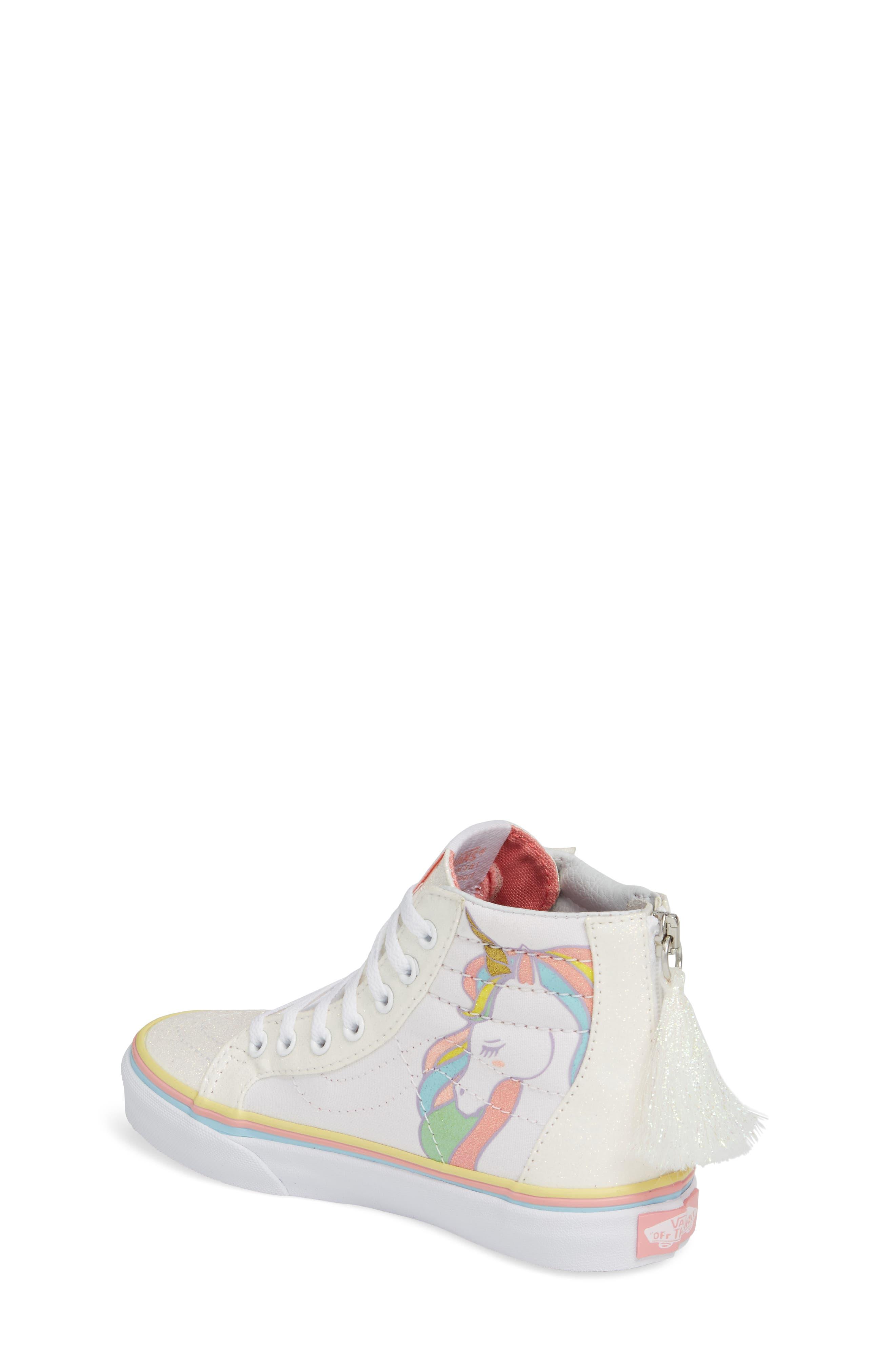 Sk8-Hi Zip Unicorn Glitter High Top Sneaker,                             Alternate thumbnail 4, color,