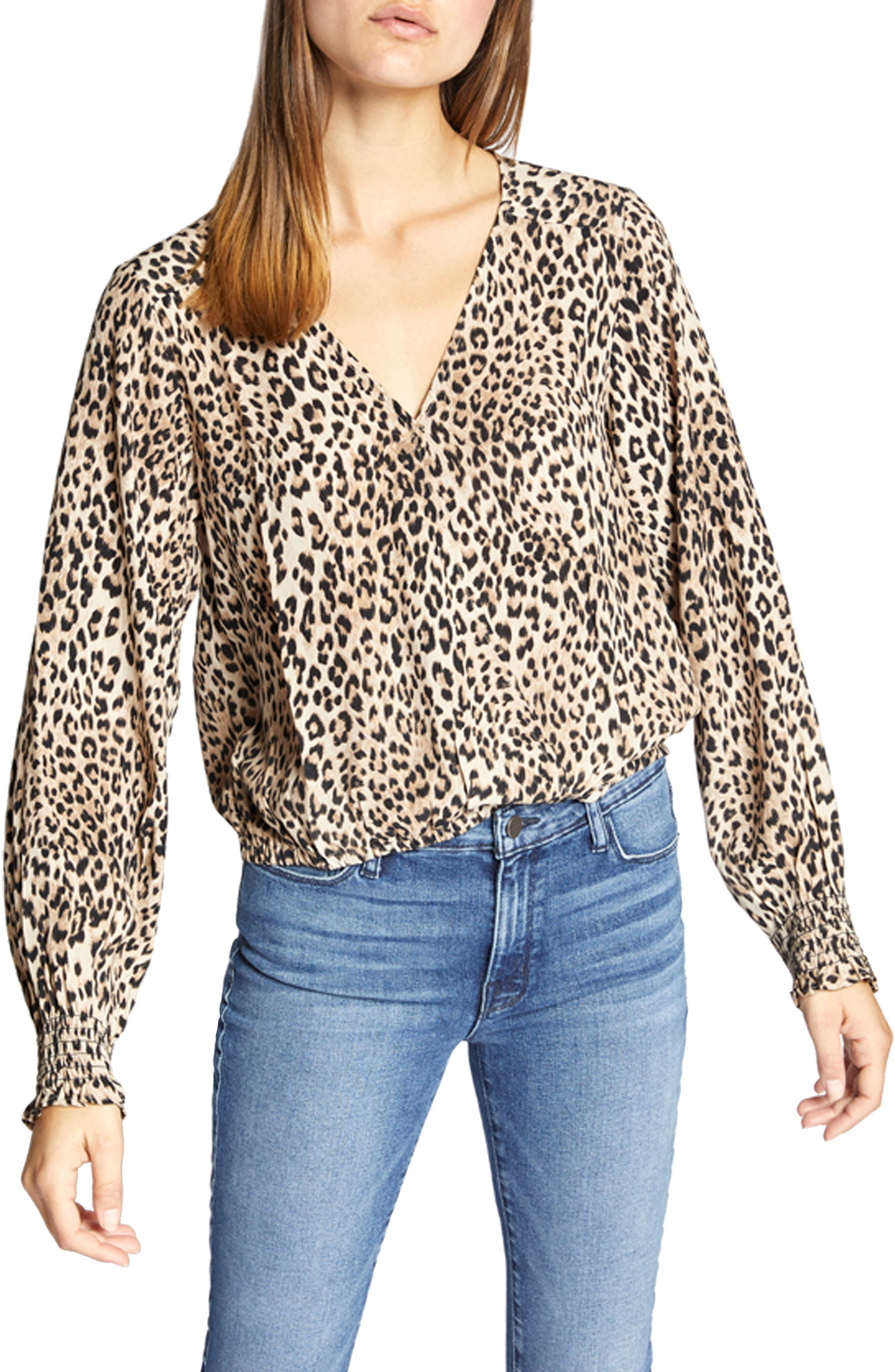 Animal Print Smock Detail Blouse, Main, color, LEOPARD
