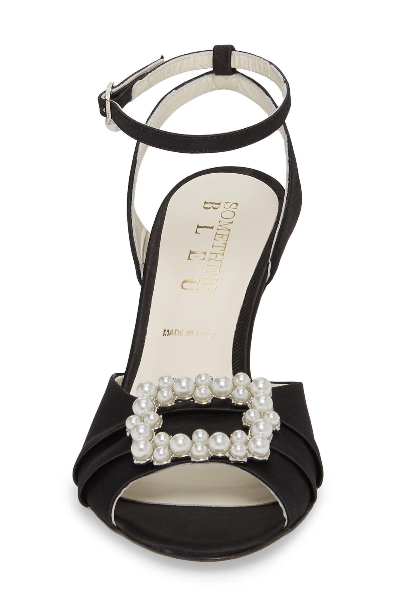 Godiva Imitation Pearl Buckle Sandal,                             Alternate thumbnail 4, color,                             BLACK SATIN