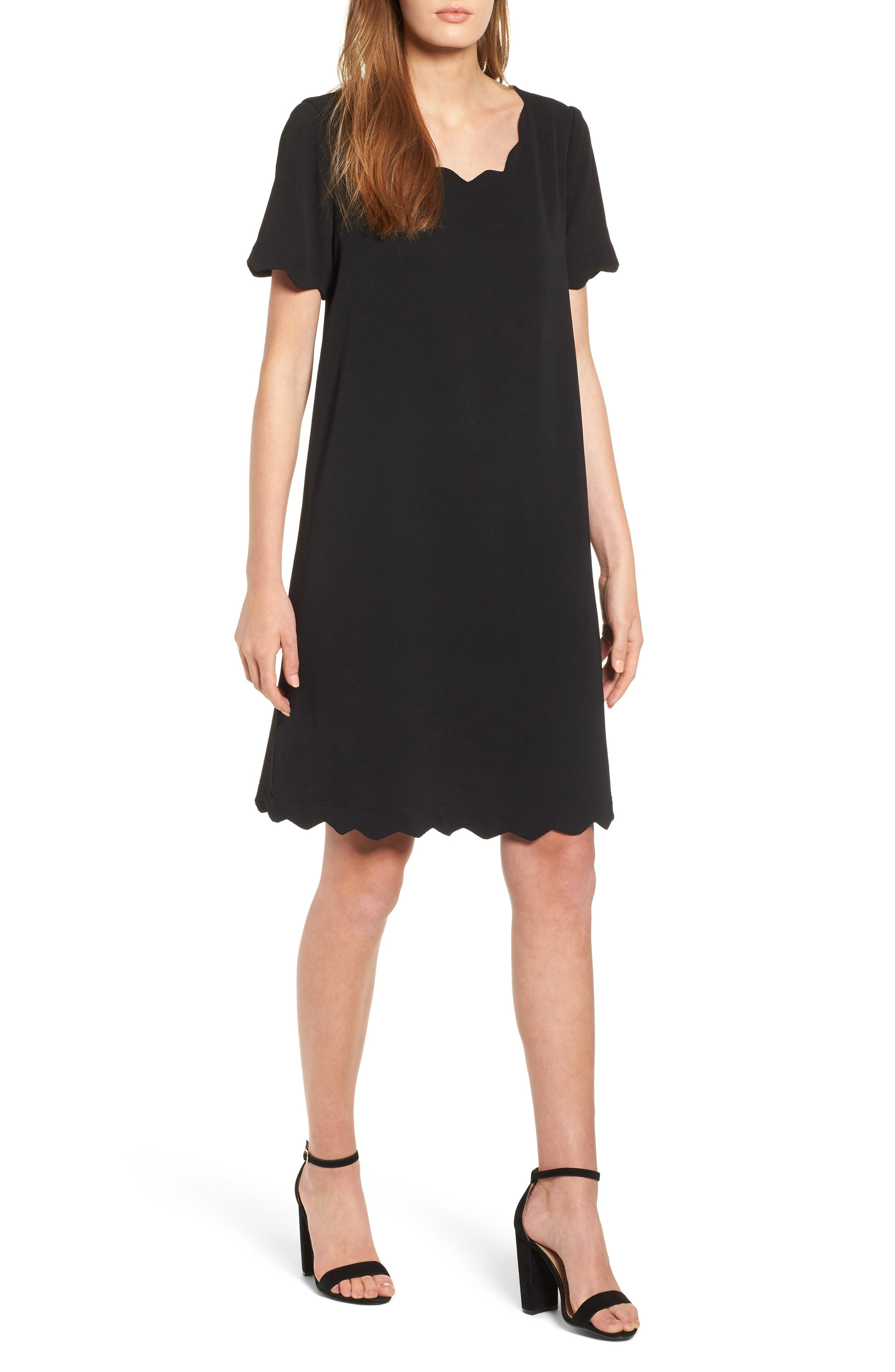 Scallop Shift Dress,                             Main thumbnail 1, color,                             BLACK