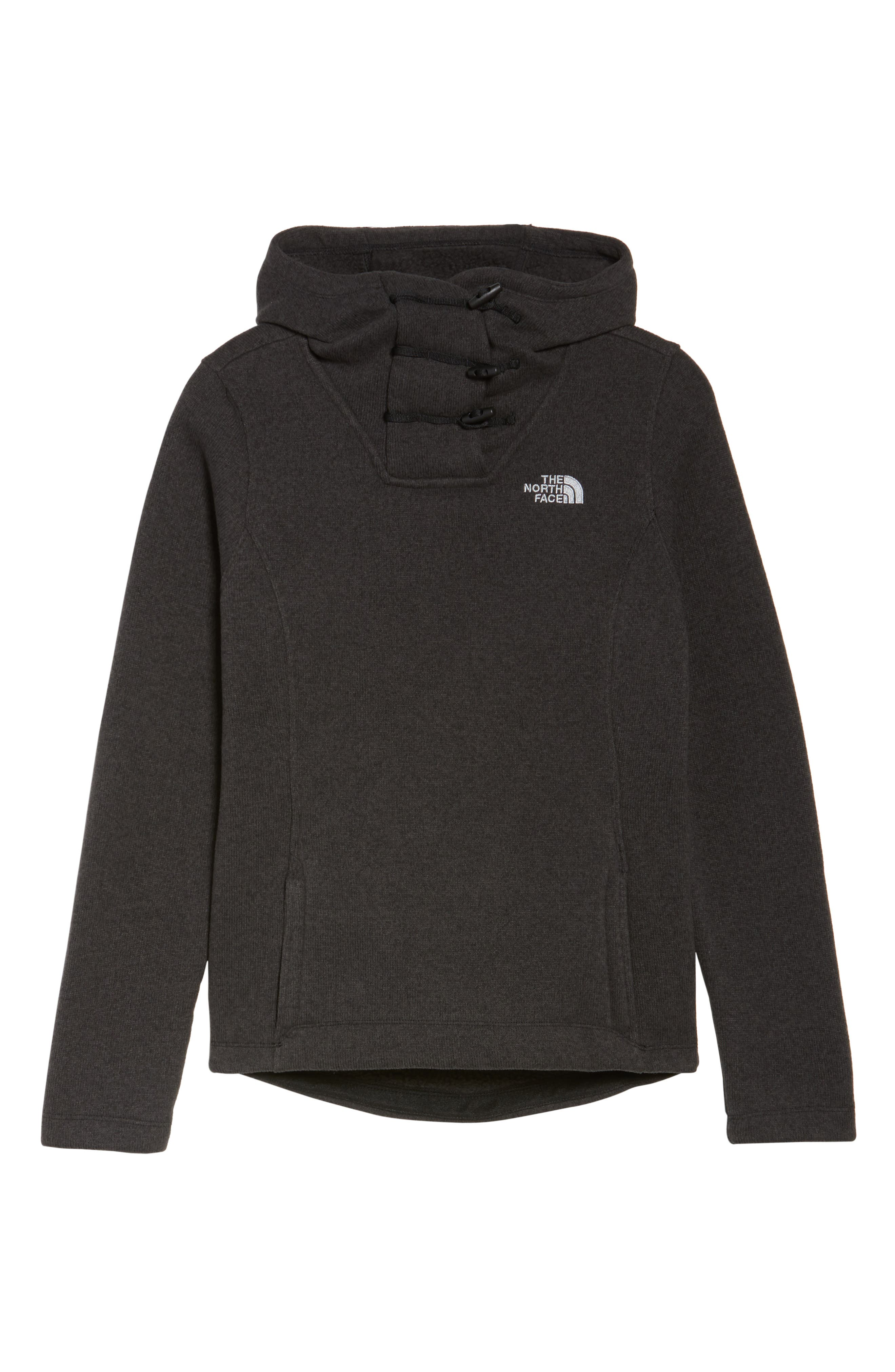 Crescent Hooded Pullover,                             Alternate thumbnail 7, color,                             TNF BLACK HEATHER