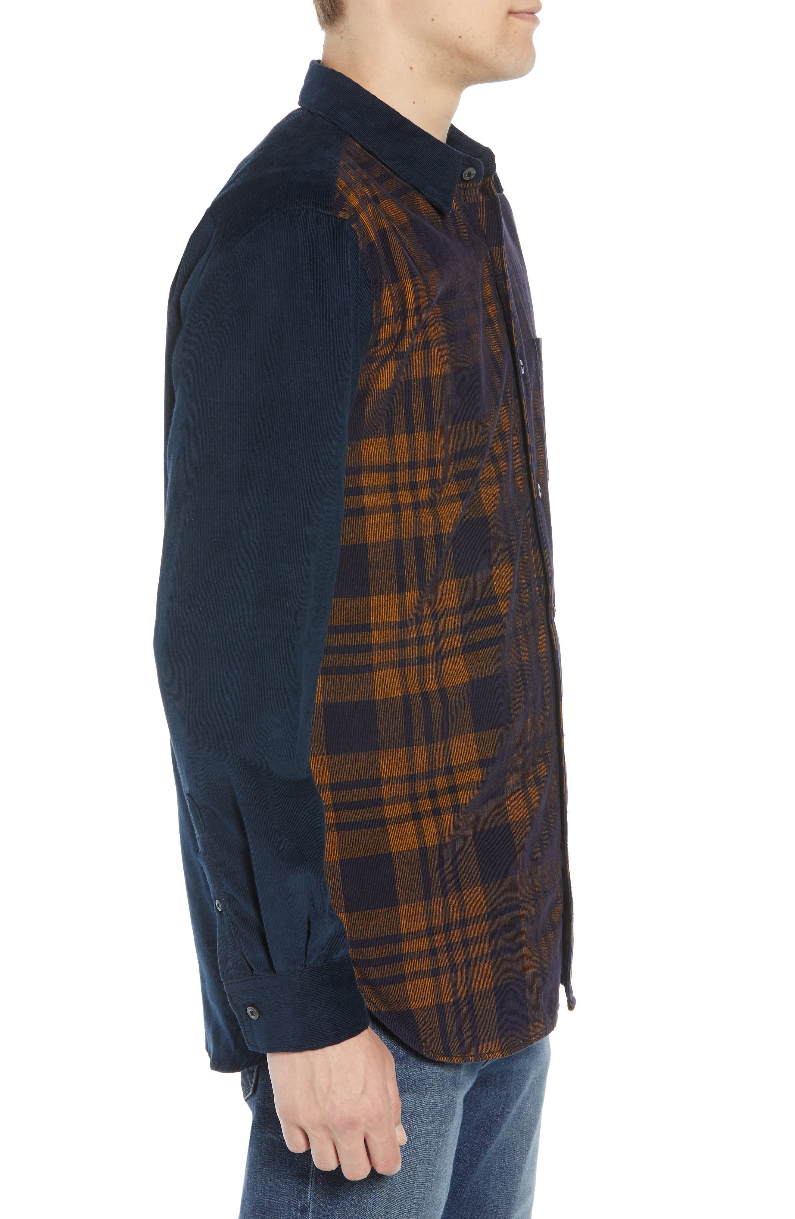 Regular Fit Check Print Corduroy Shirt,                             Alternate thumbnail 4, color,                             CALLUNA YELLOW UTILITY BLUE