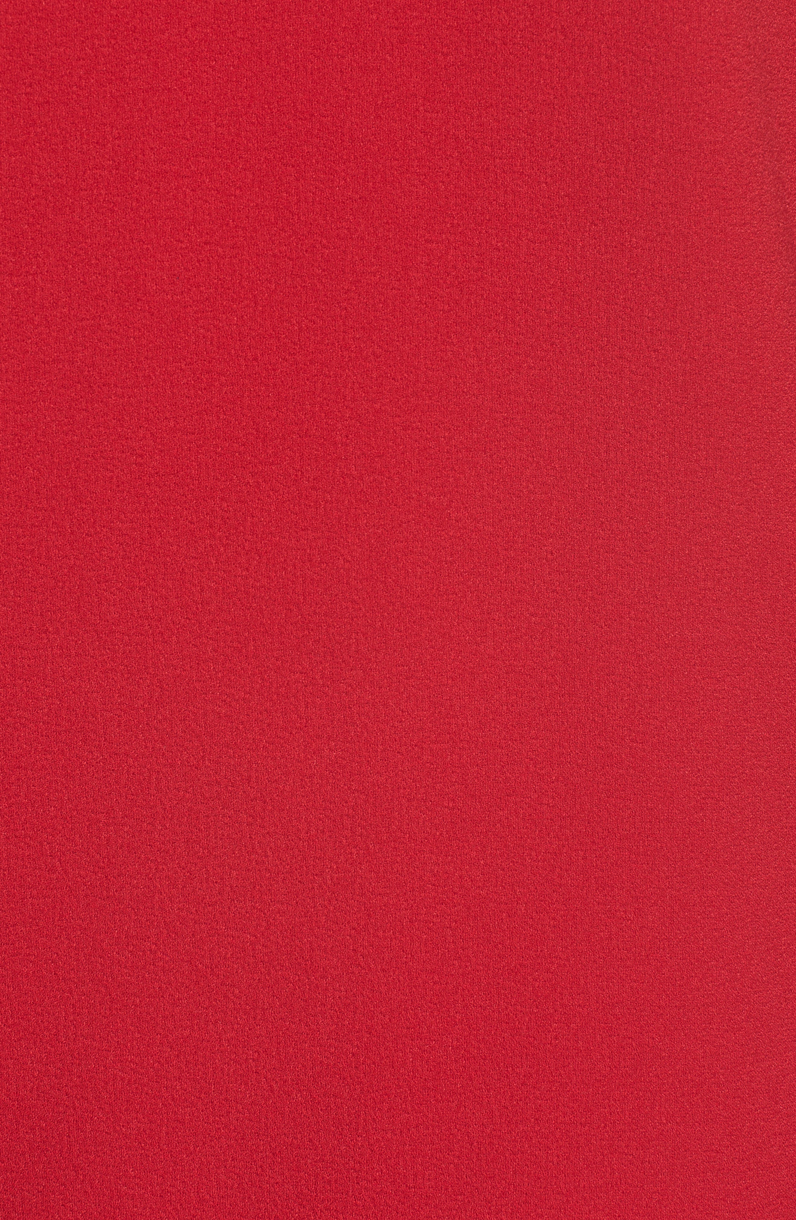 Crepe Scallop Trim Shift Dress,                             Alternate thumbnail 6, color,                             CHERRY
