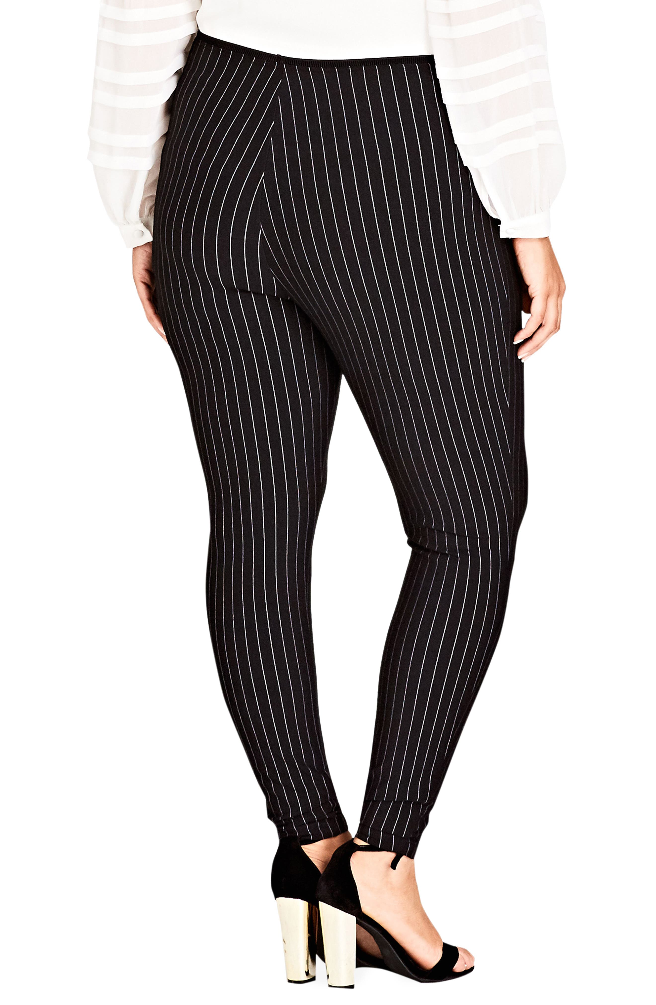 CITY CHIC,                             Chic City Simply Striped Skinny Pants,                             Alternate thumbnail 3, color,                             001