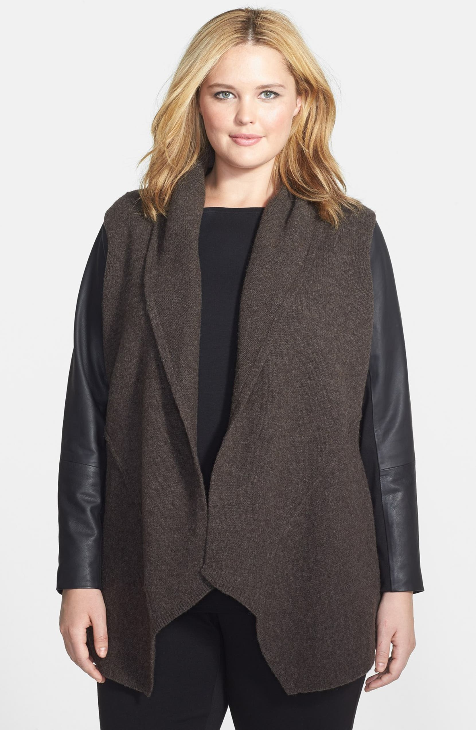 d6da99e1380 Eileen Fisher Shawl Collar Leather Sleeve Wool Jacket (Plus Size ...