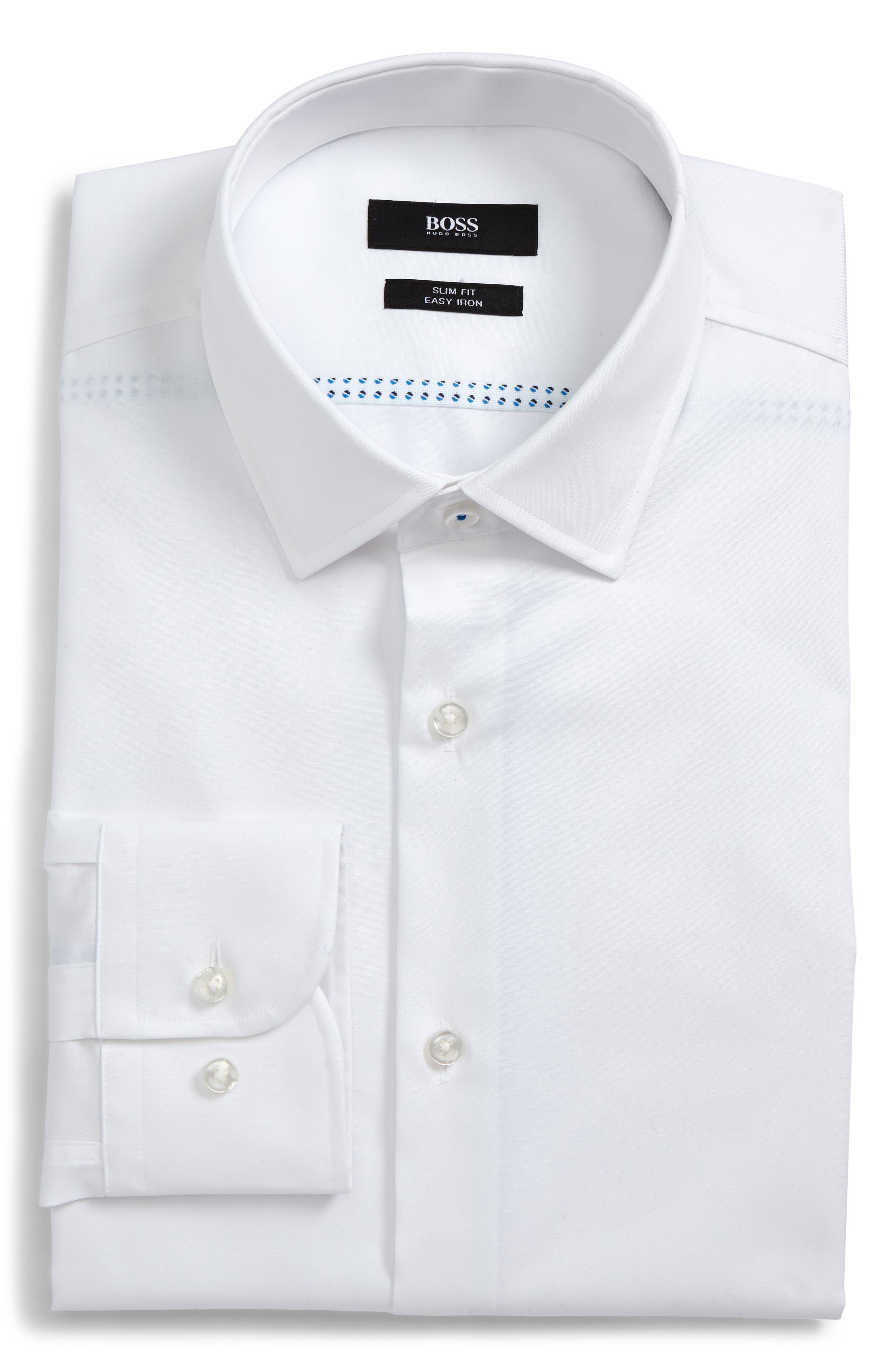 Jerris Slim Fit Dress Shirt,                             Main thumbnail 1, color,                             WHITE