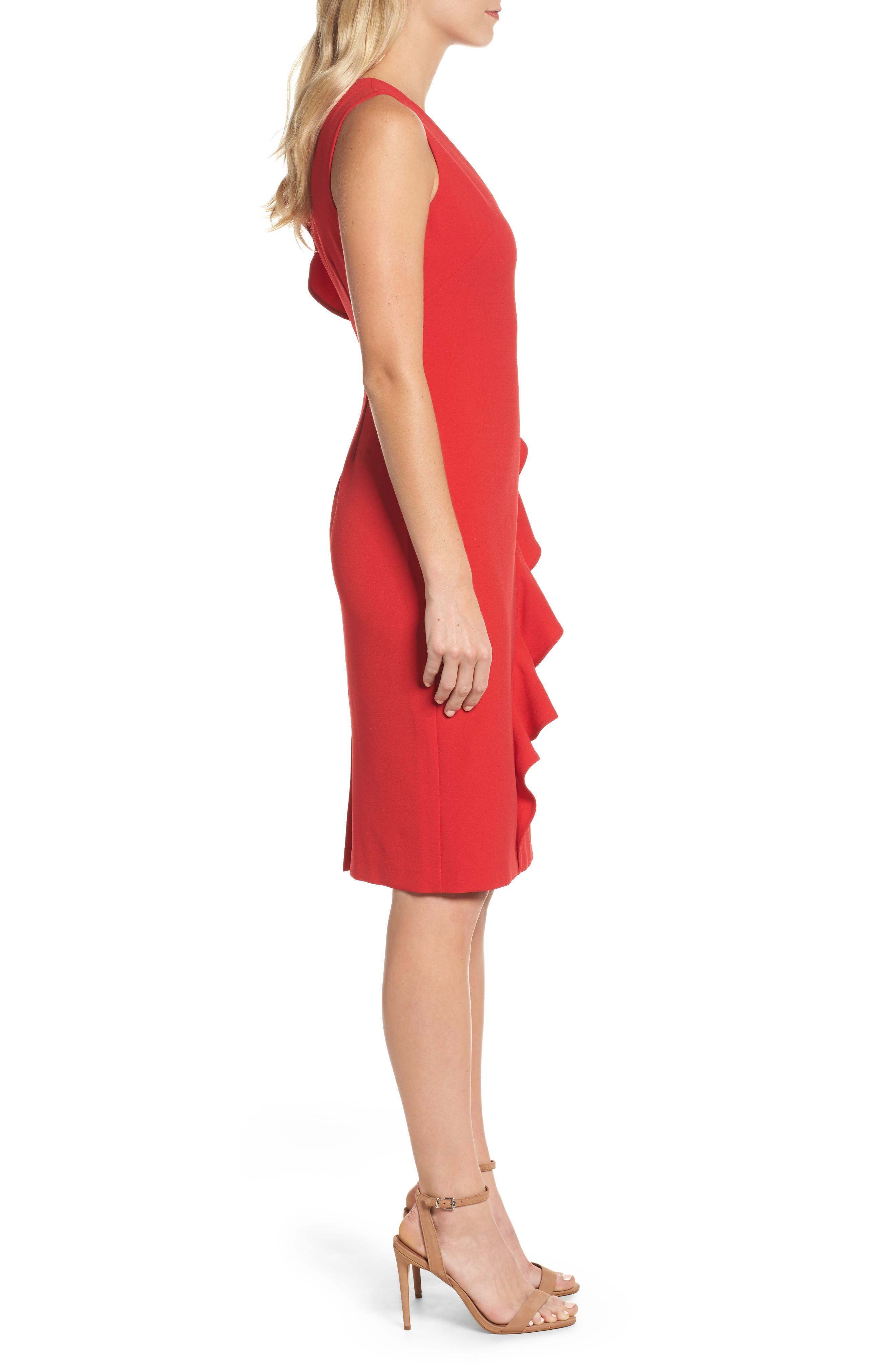 Ruffle Sheath Dress,                             Alternate thumbnail 3, color,                             610