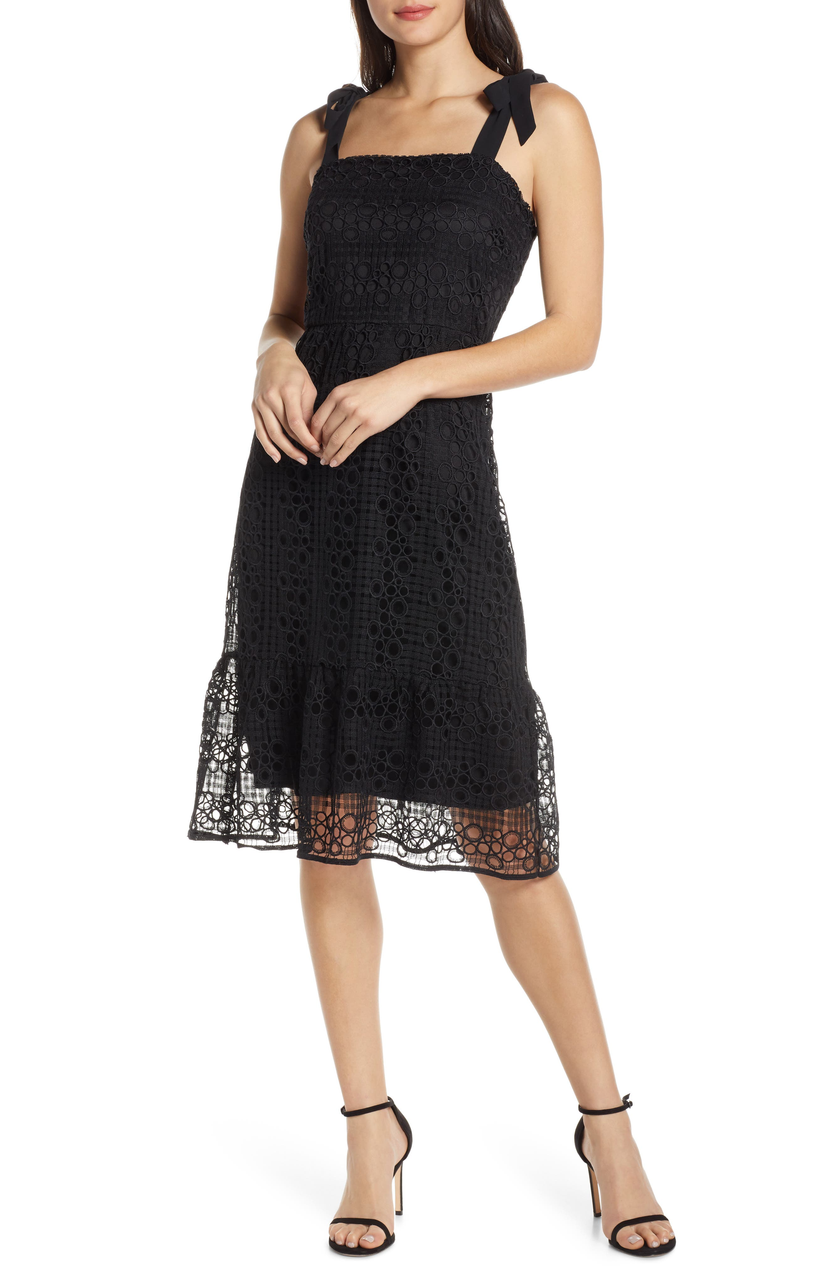 Sam Edelman Circle Crochet Lace Sundress, Black