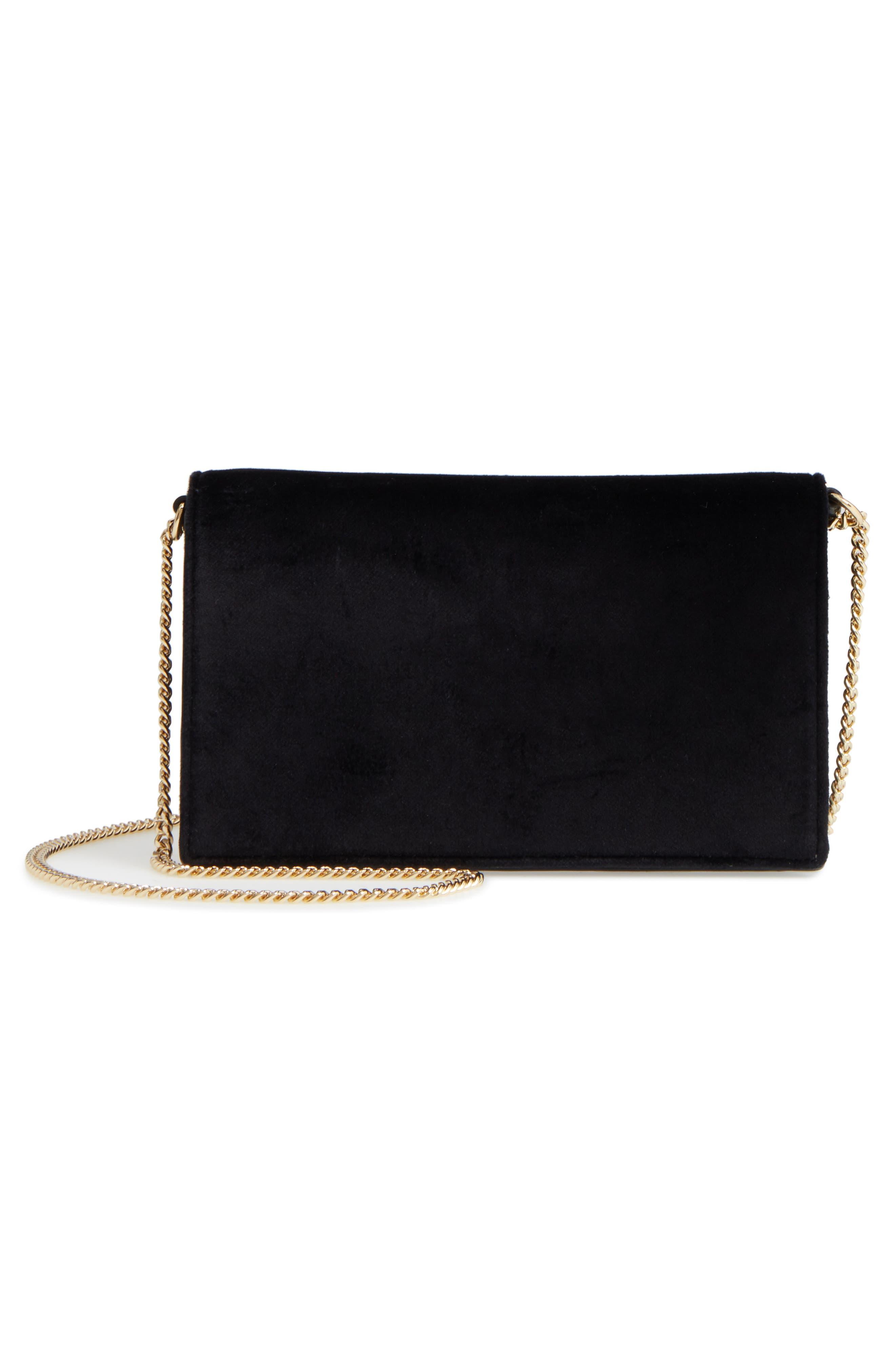 Soirée Velvet Convertible Crossbody Bag,                             Alternate thumbnail 3, color,                             001