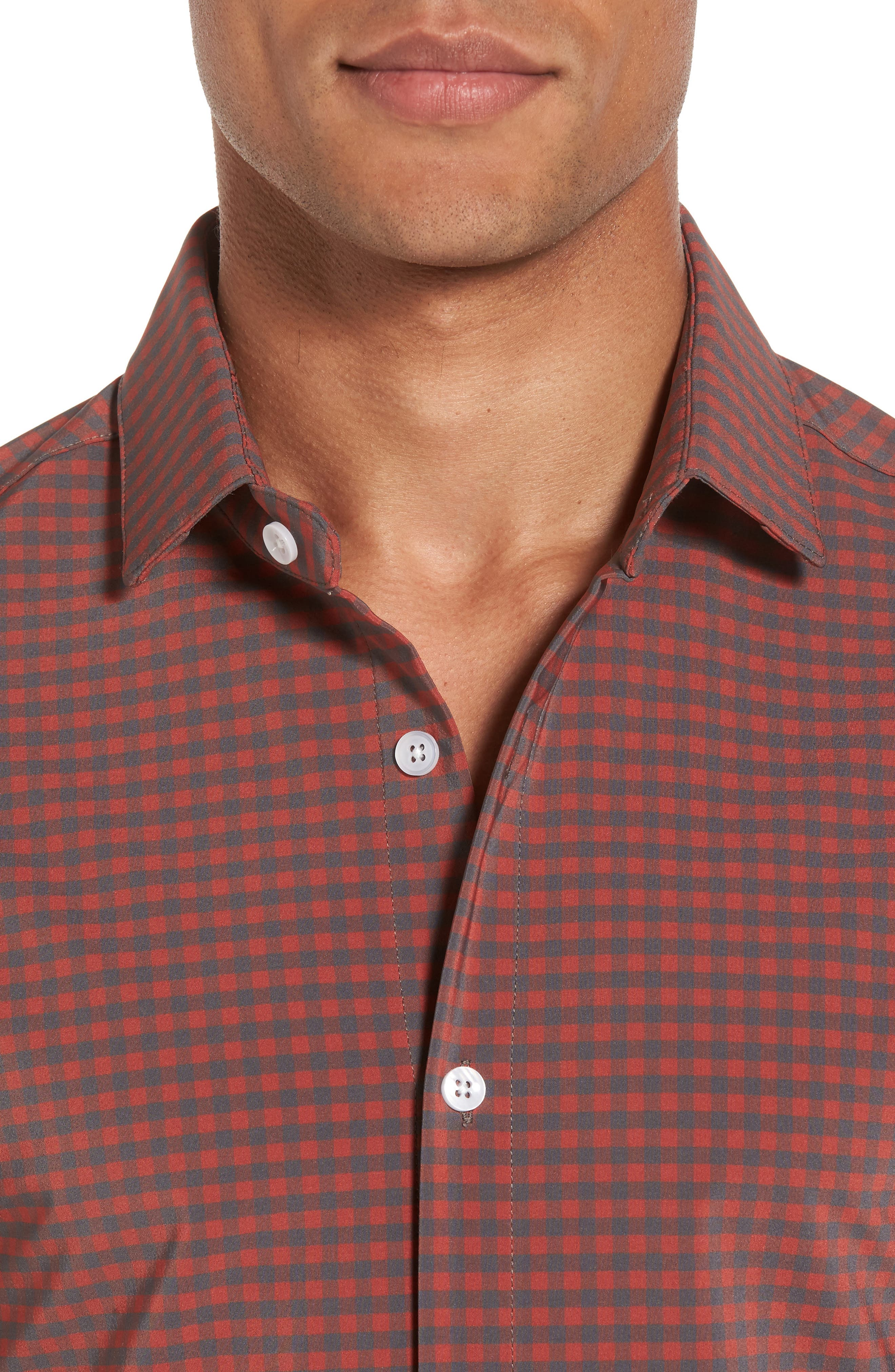 Douglas Grey & Chili Check Sport Shirt,                             Alternate thumbnail 4, color,                             RED
