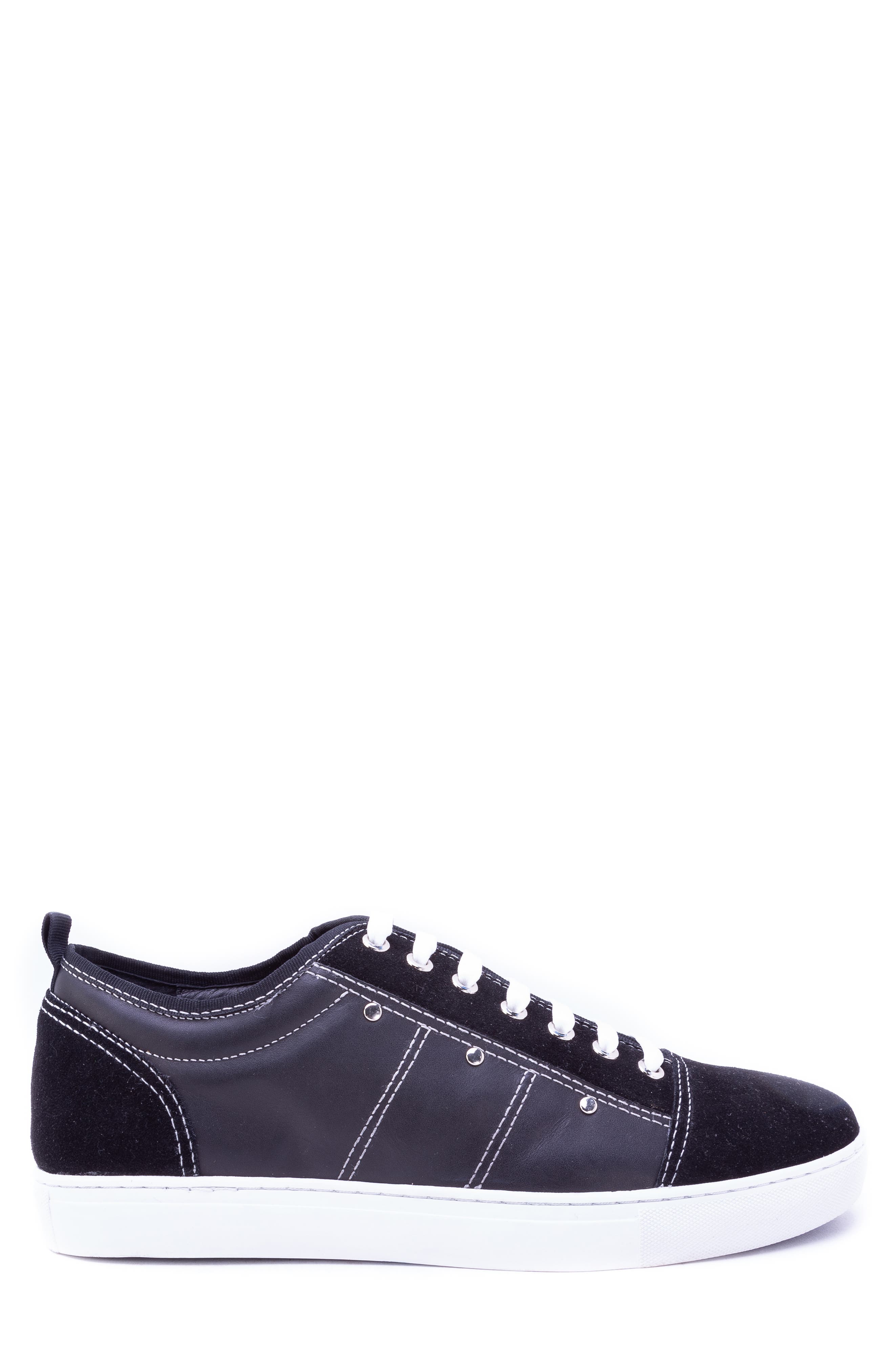 Severn Studded Low Top Sneaker,                             Alternate thumbnail 3, color,                             BLACK SUEDE/ LEATHER