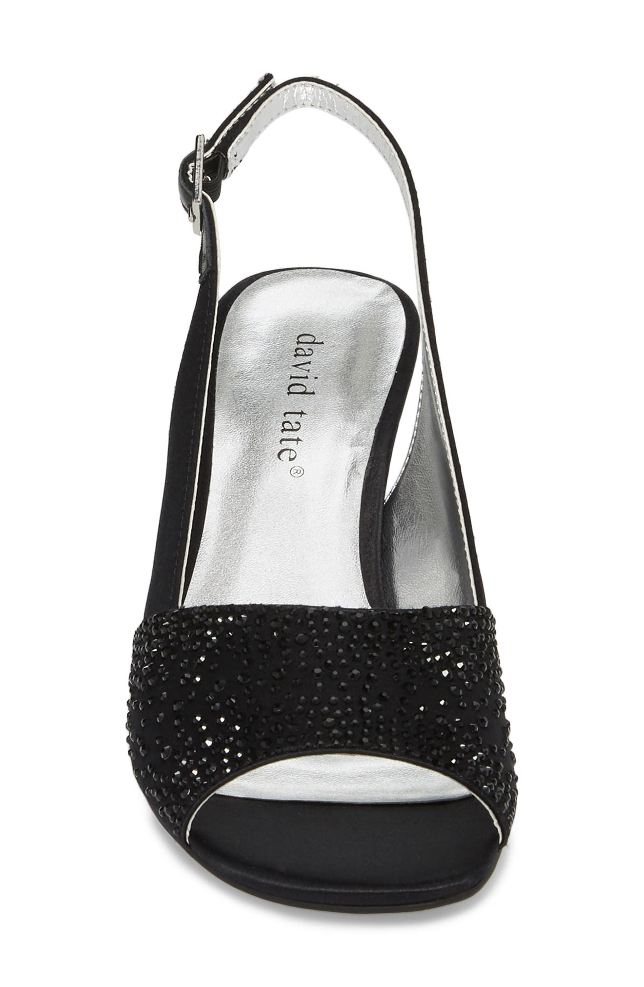 Stunning Slingback Pump,                             Alternate thumbnail 4, color,                             BLACK SATIN