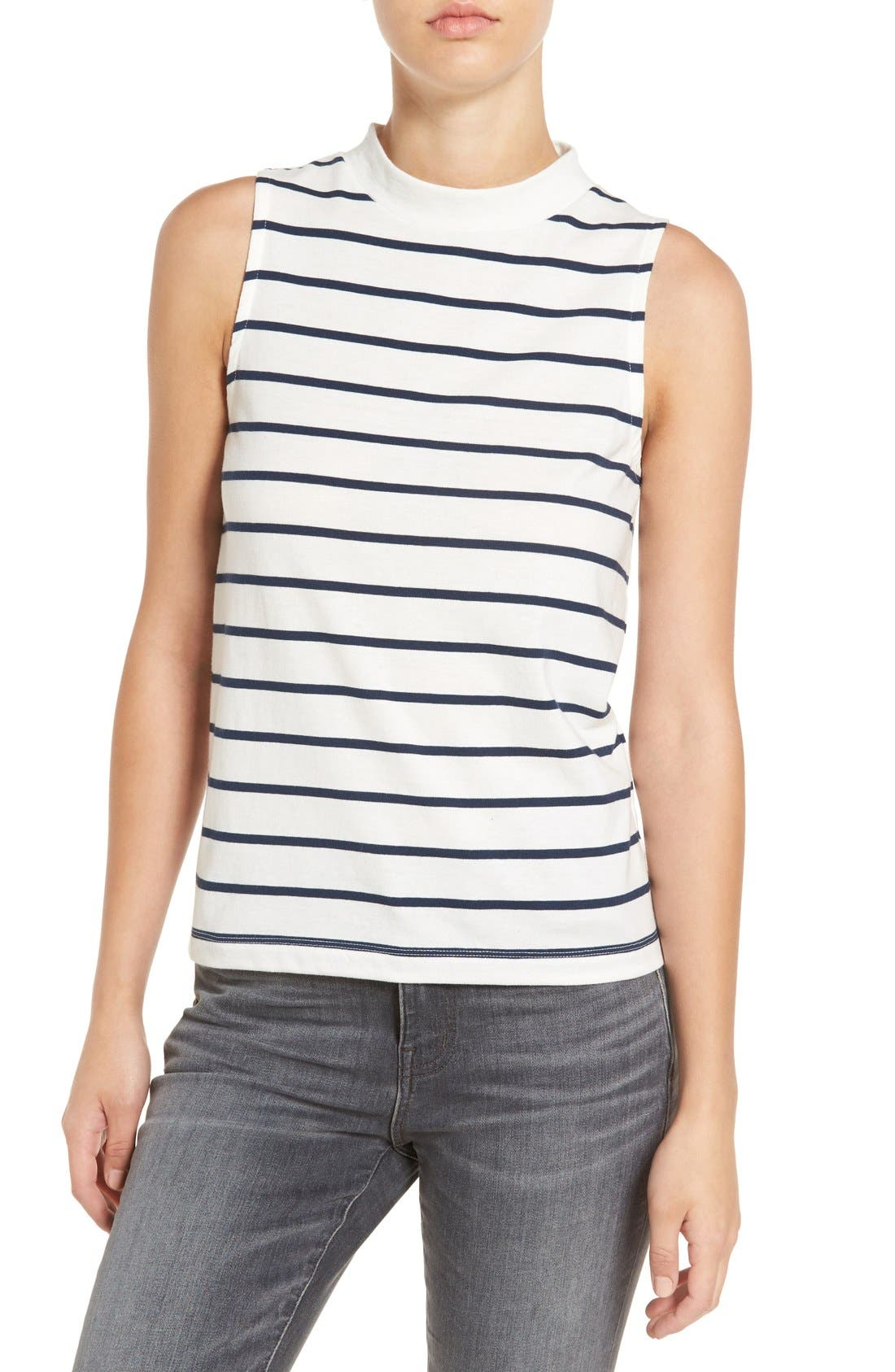 'Ardelle' Stripe Mock Neck Tank,                             Main thumbnail 1, color,                             907