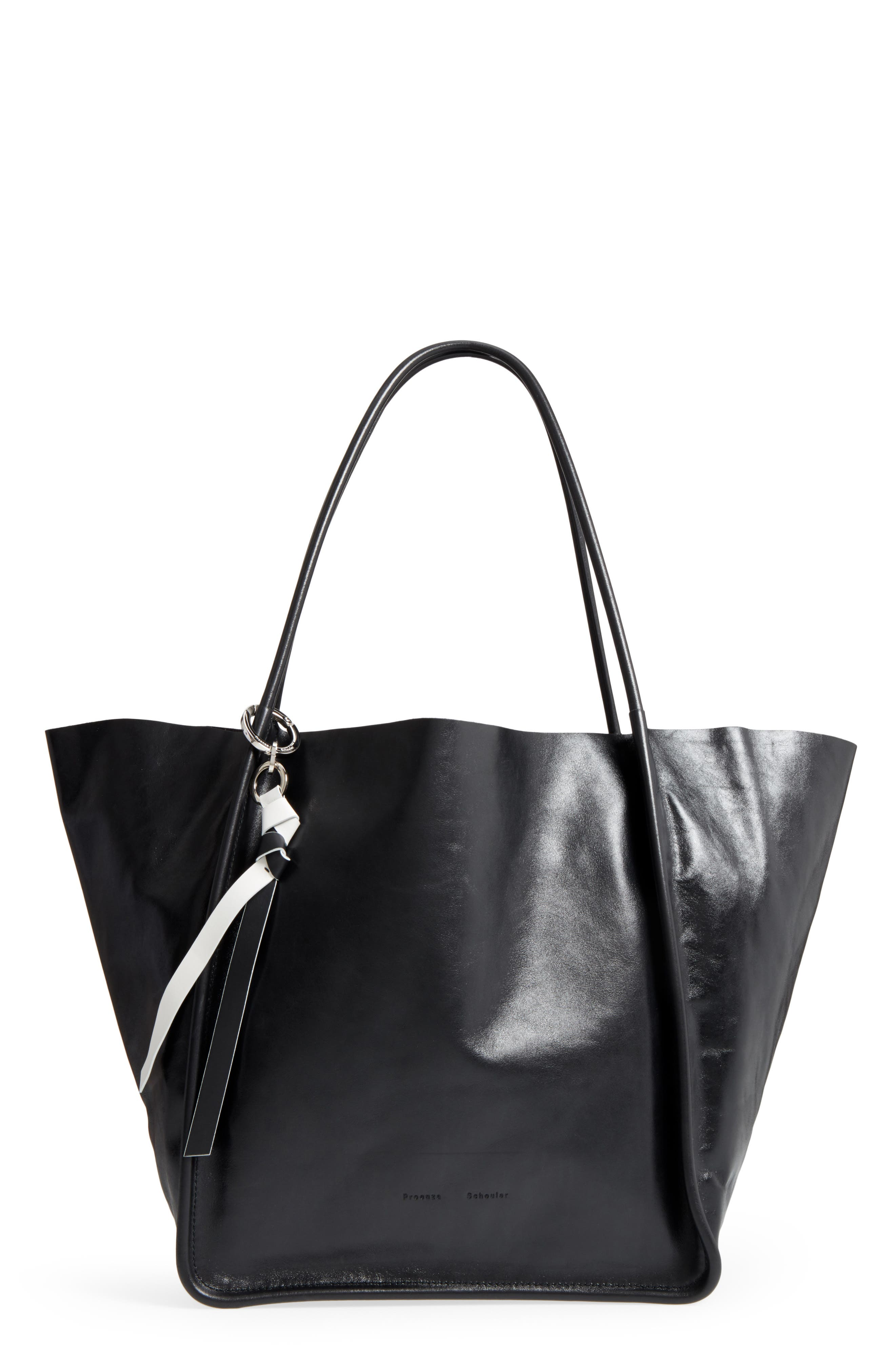 Extra Large Leather Tote,                             Main thumbnail 1, color,                             BLACK
