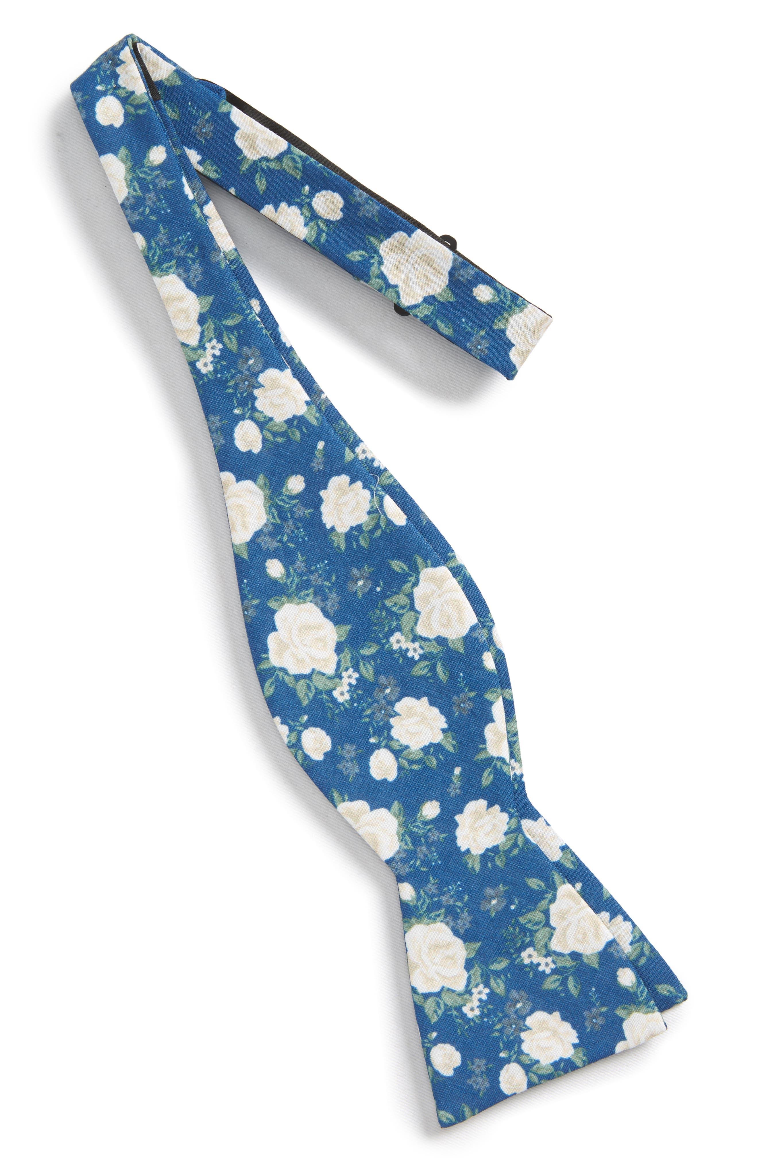 Hodgkiss Flowers Linen Bow Tie,                             Alternate thumbnail 2, color,                             ROYAL BLUE