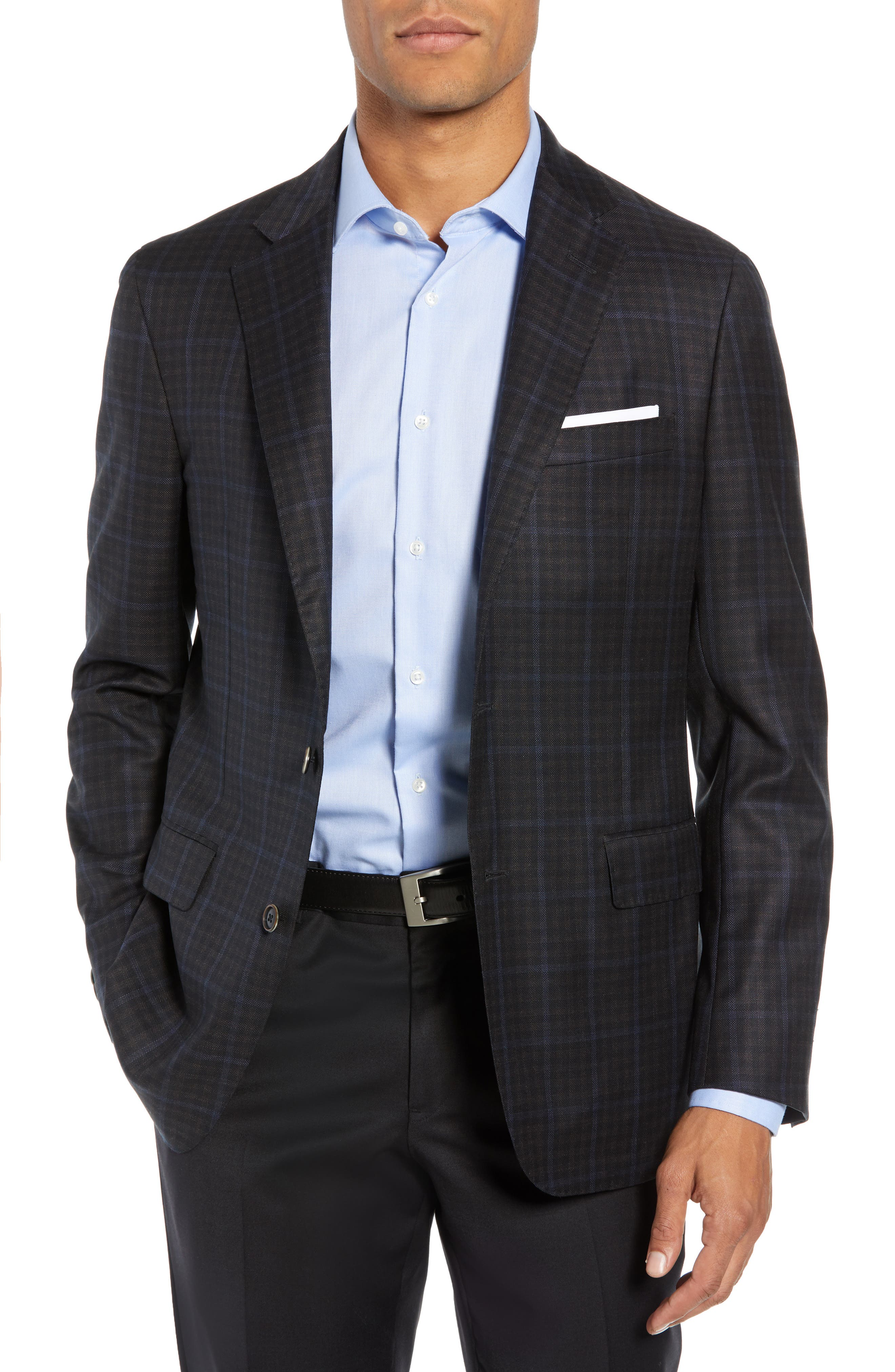 Classic Fit Check Wool Sport Coat,                             Main thumbnail 1, color,                             NAVY/ BROWN