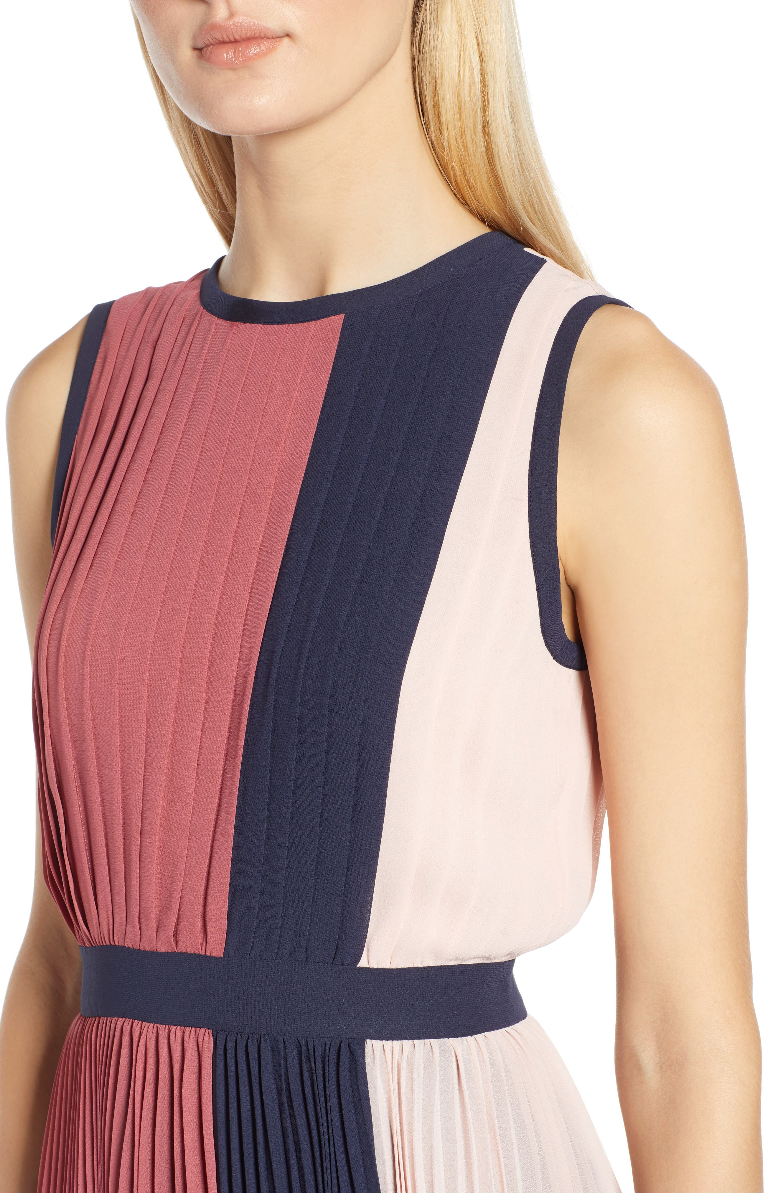 x Atlantic-Pacific Colorblock Pleated Midi Dress,                             Alternate thumbnail 4, color,                             PINK- NAVY COLORBLOCK