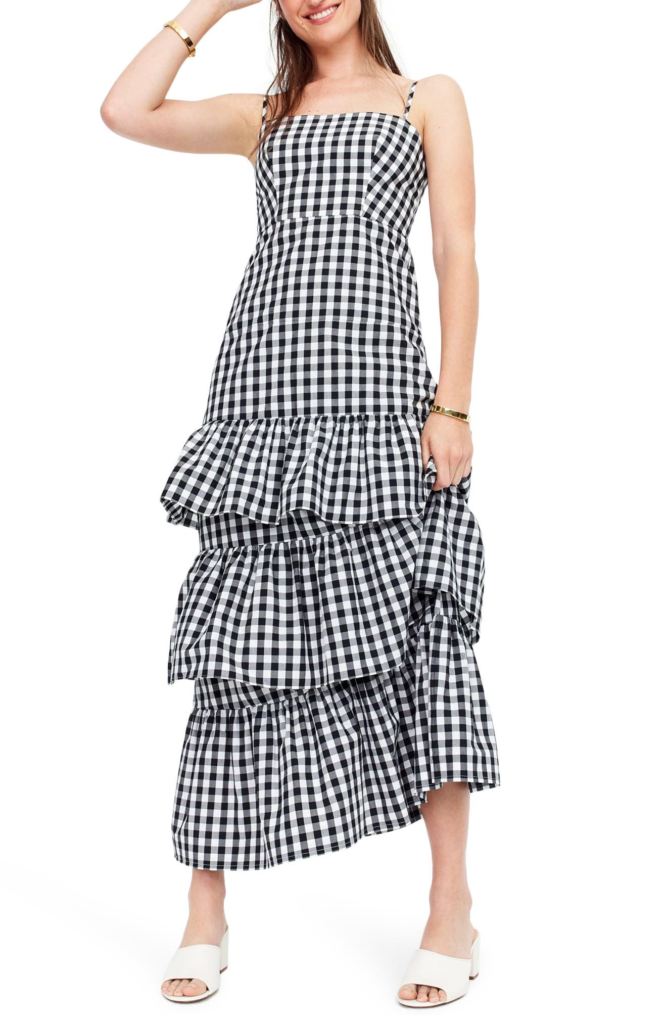 Tiered Gingham Dress,                             Main thumbnail 1, color,                             001