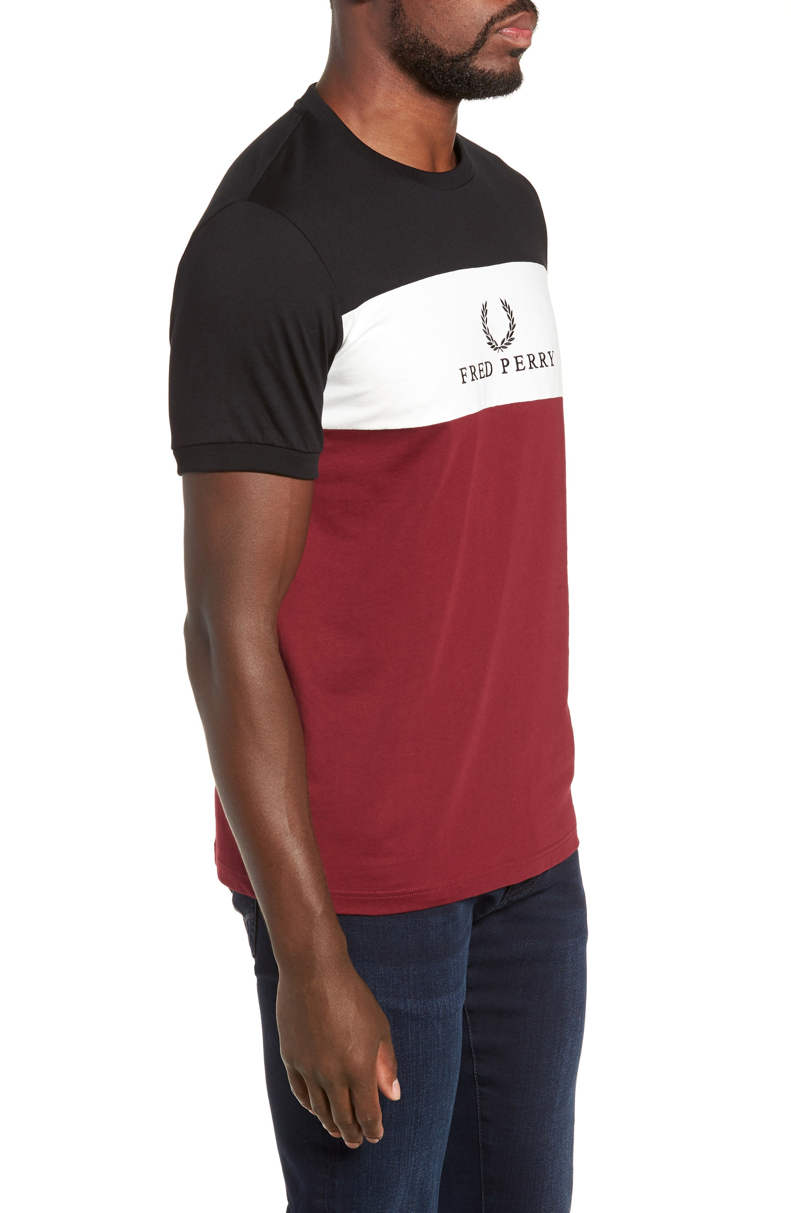 Embroidered Colorblock T-Shirt,                             Alternate thumbnail 3, color,                             TAWNY PORT