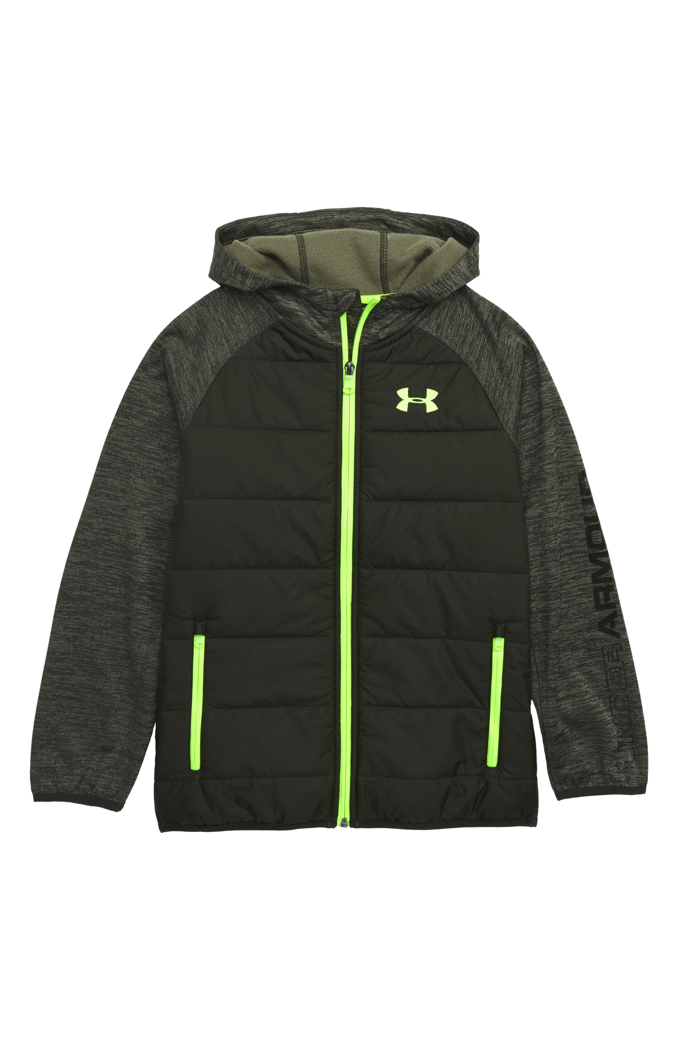 Day Trekker Water Resistant ColdGear<sup>®</sup> Hooded Puffer Jacket,                             Main thumbnail 1, color,                             ARTILLERY GREEN