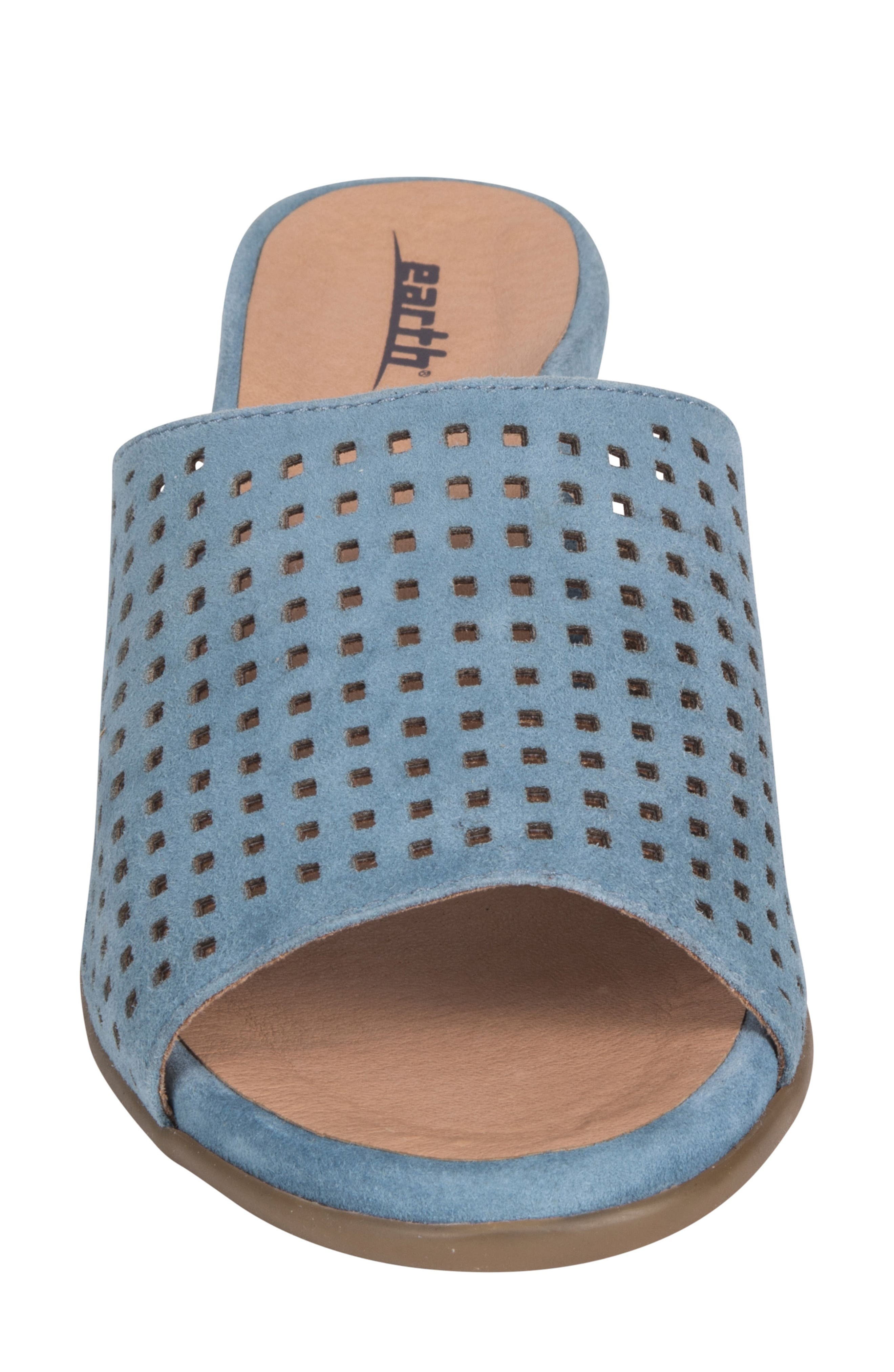 Ibiza Perforated Sandal,                             Alternate thumbnail 4, color,                             SKY BLUE SUEDE