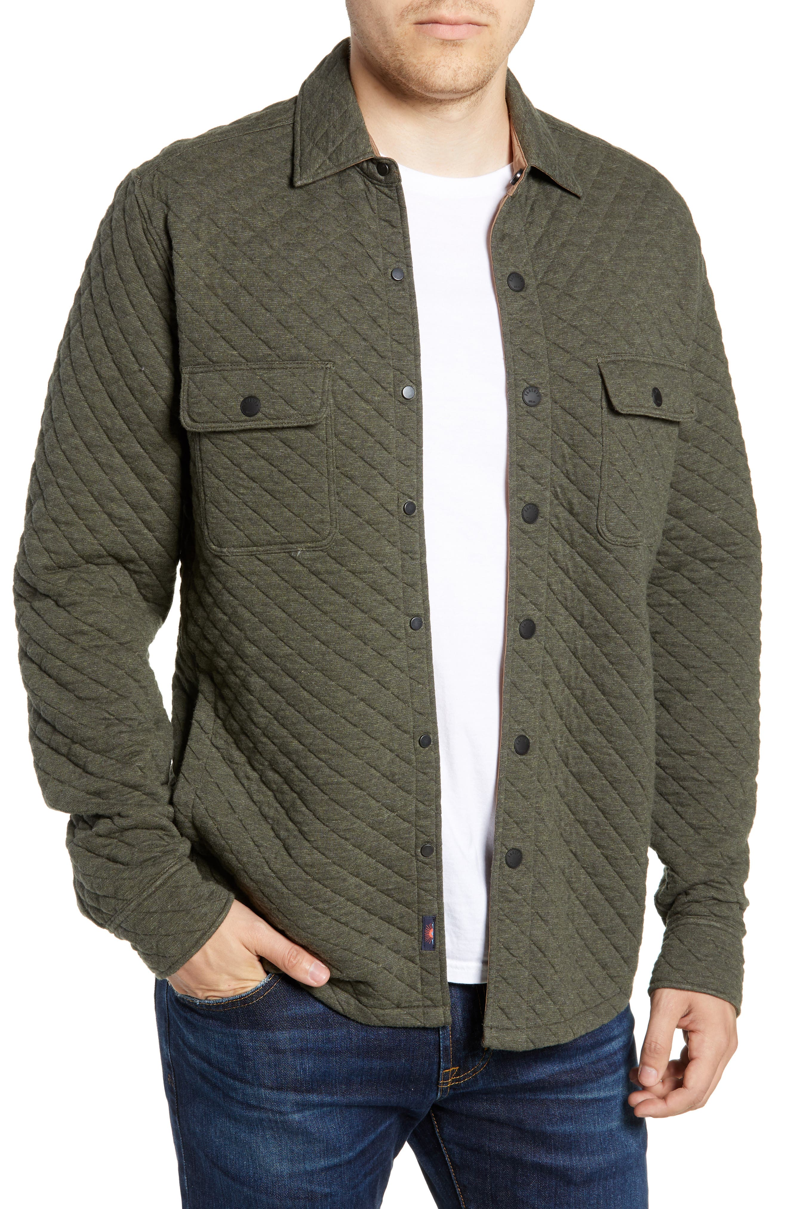 FAHERTY,                             Belmar Quilted Shirt Jacket,                             Main thumbnail 1, color,                             OLIVE HEATHER