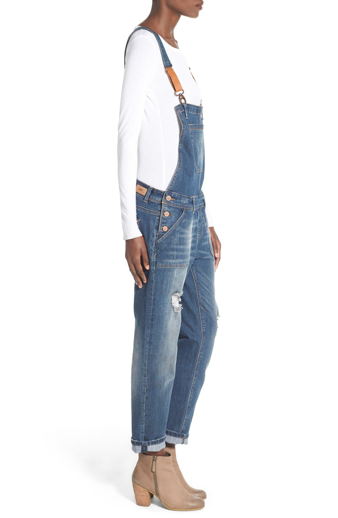 'Daryl' Distressed Denim Overalls,                             Alternate thumbnail 4, color,