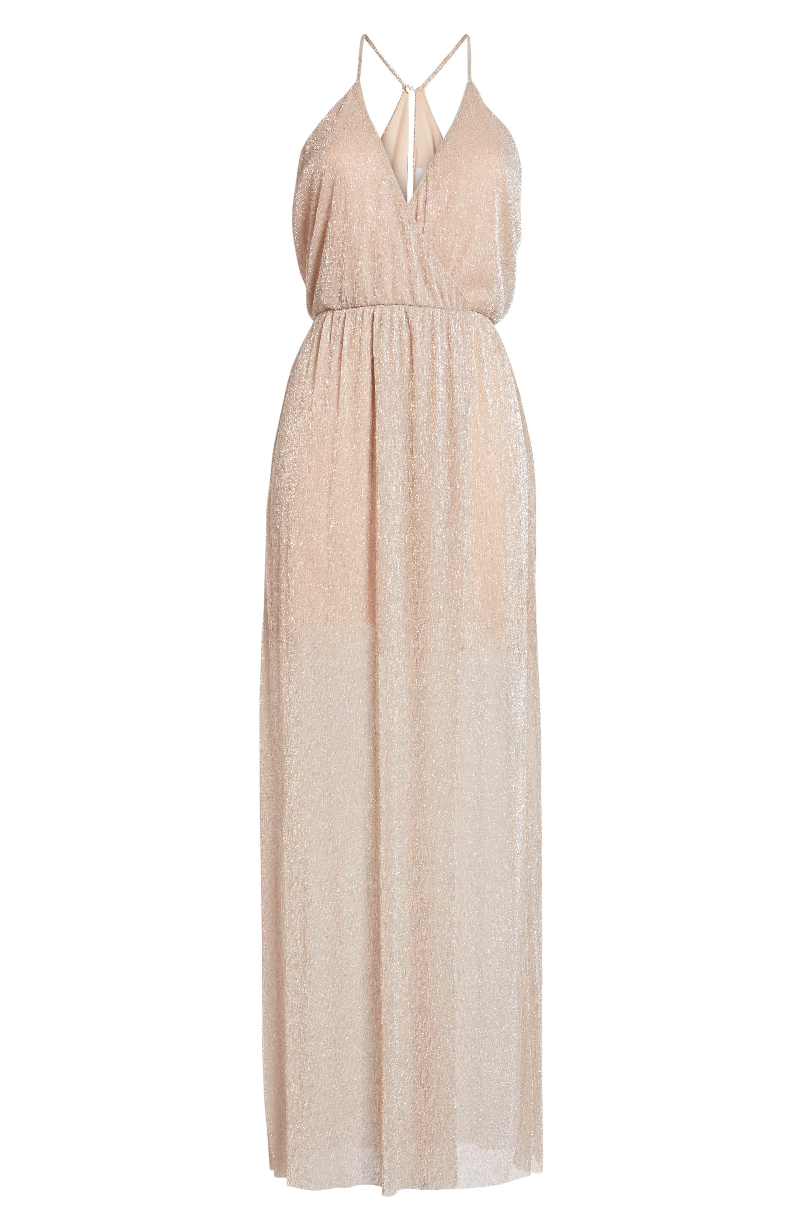Metallic Surplice Maxi Dress,                             Alternate thumbnail 12, color,