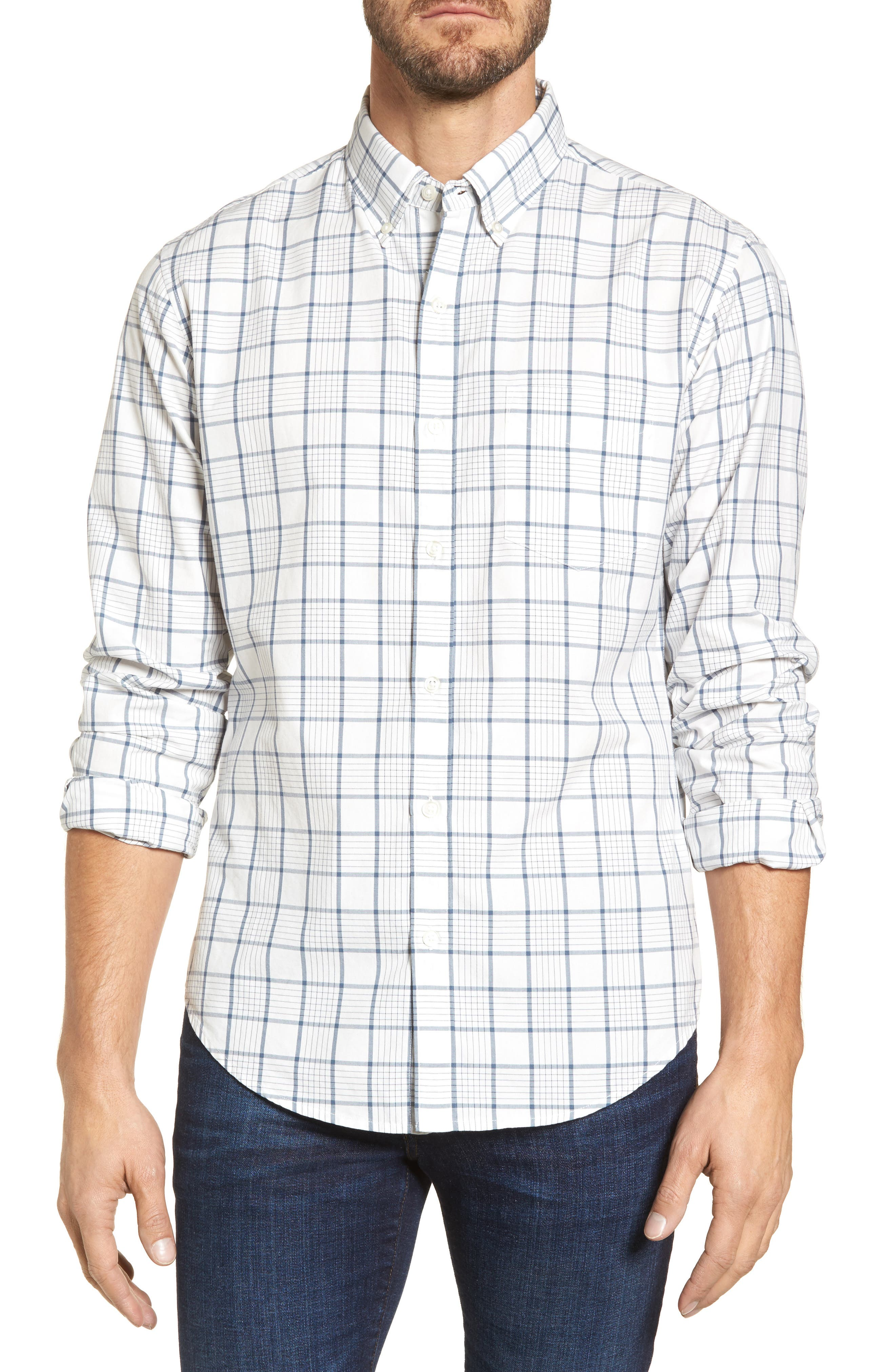 Slim Fit Washed Plaid Sport Shirt,                             Main thumbnail 1, color,                             100