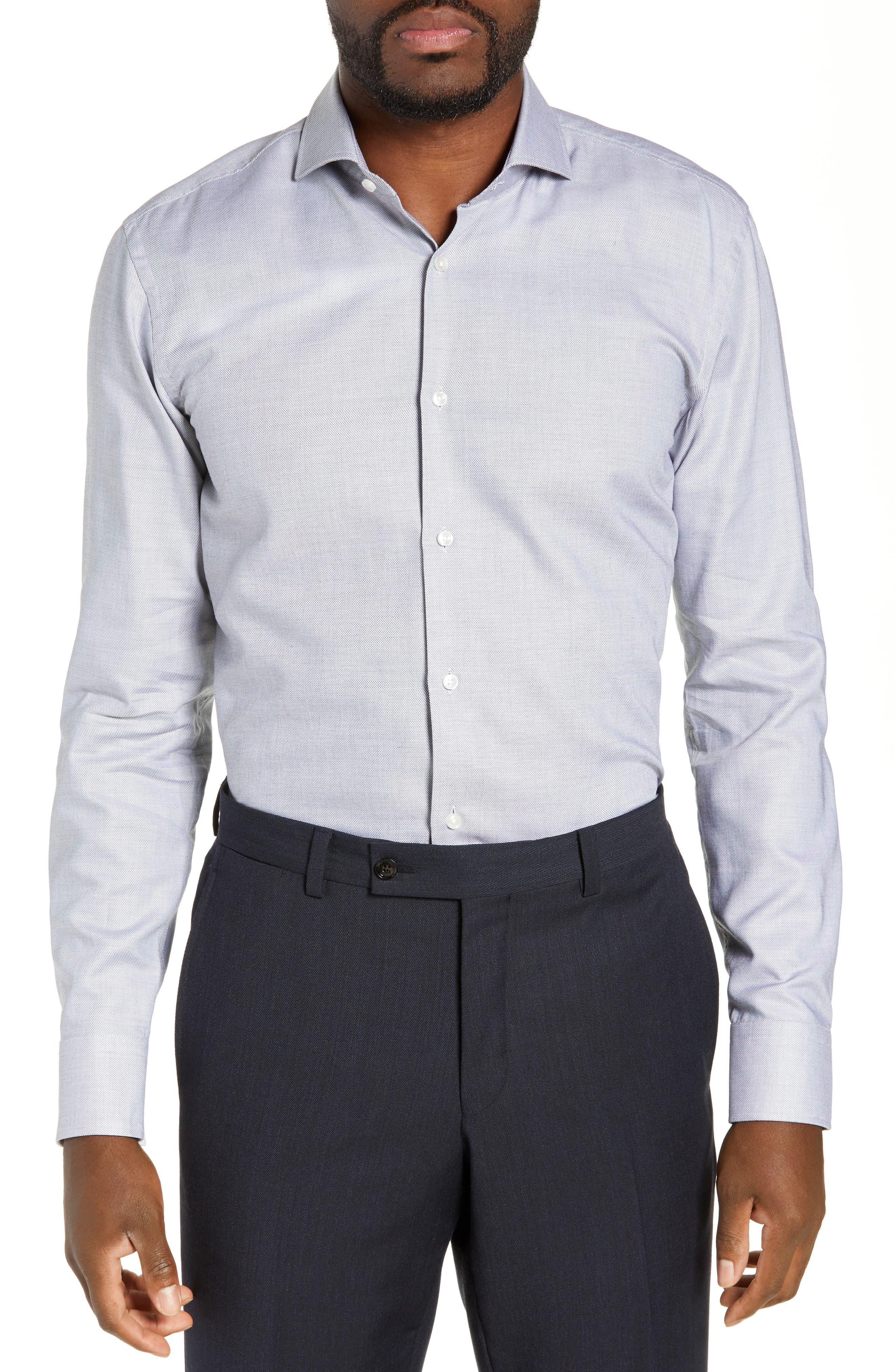 Jason Trim Fit Solid Dress Shirt,                         Main,                         color, BLACK