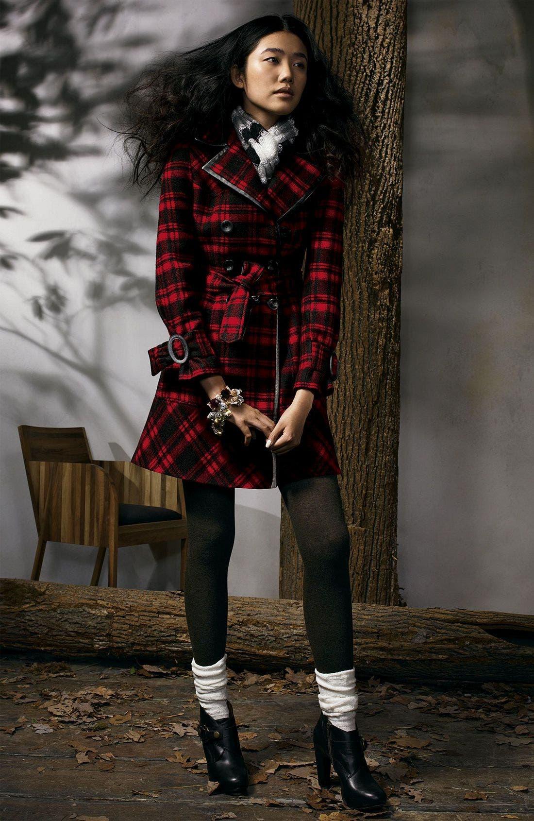 Plaid Wool Blend Trench Coat,                             Alternate thumbnail 2, color,                             BRD