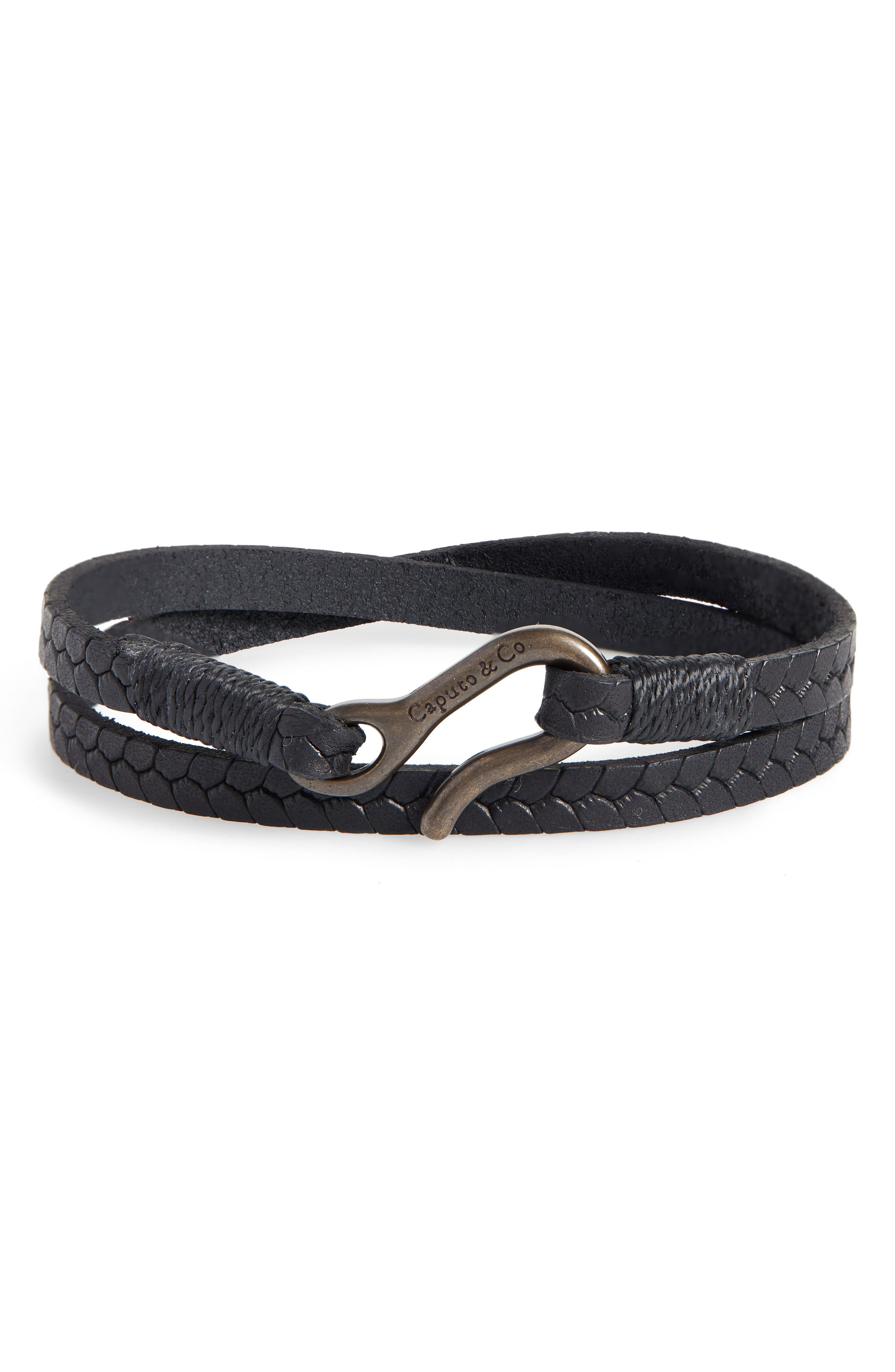 CAPUTO & CO. Embossed Leather Wrap Bracelet in Black