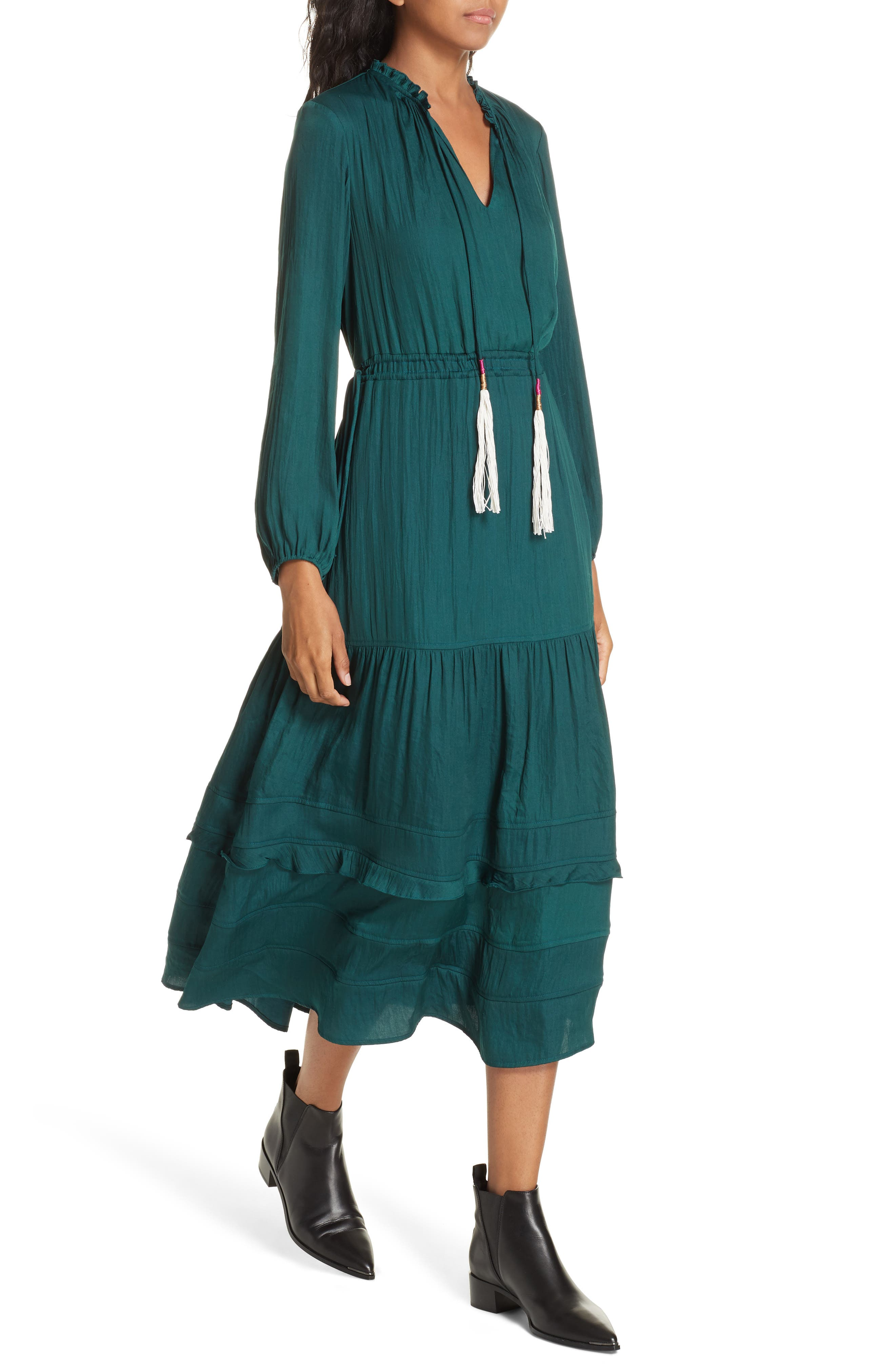Tassel Tie Midi Dress,                             Alternate thumbnail 4, color,                             FOREST