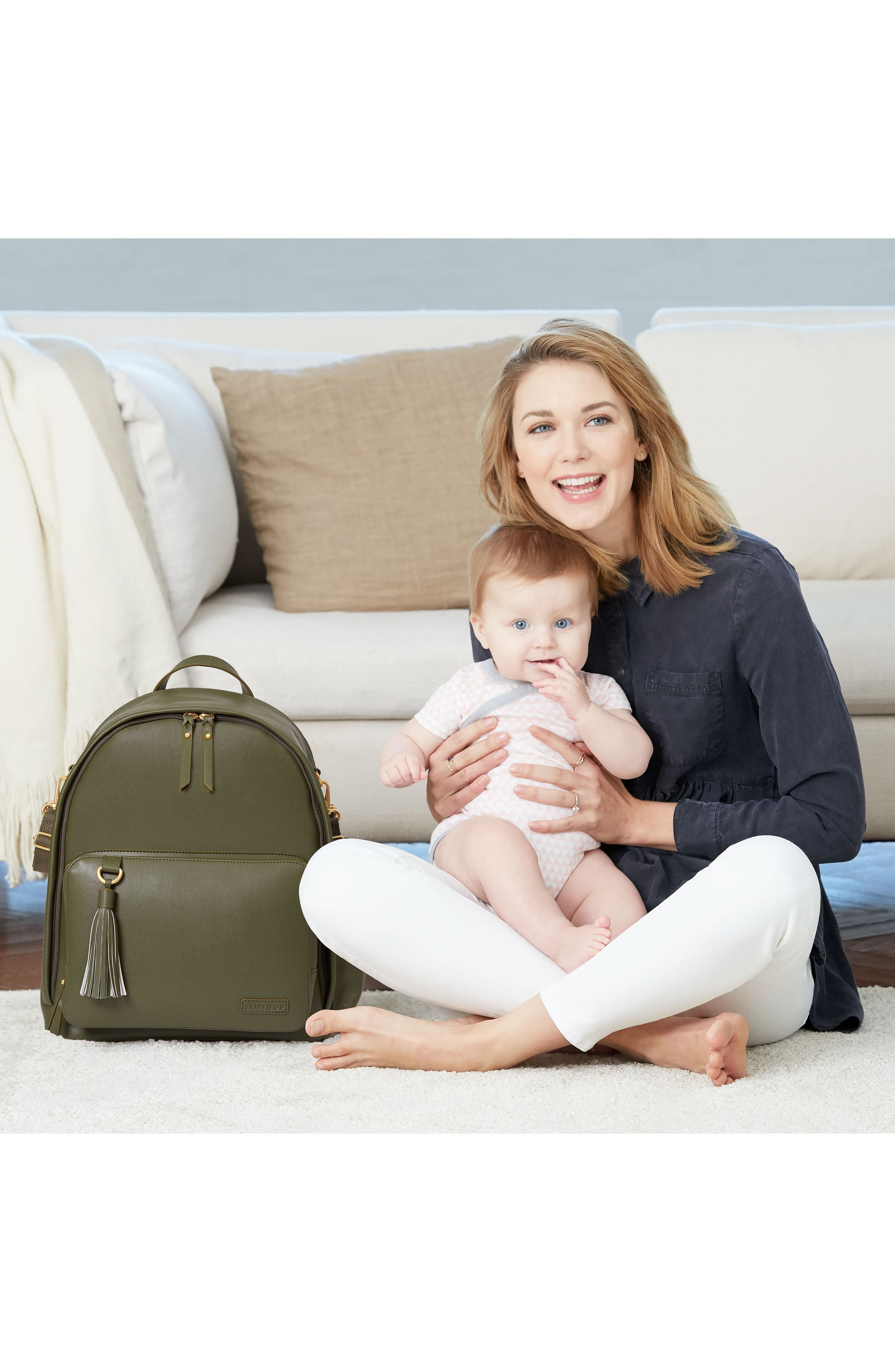 SKIP HOP,                             Greenwich Simply Chic Diaper Backpack,                             Alternate thumbnail 6, color,                             OLIVE